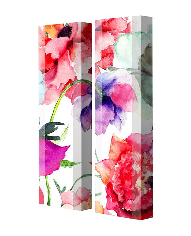 Schuhschrank FLASH Motivschrank Duo FD102 Blumen weiß 2er Set
