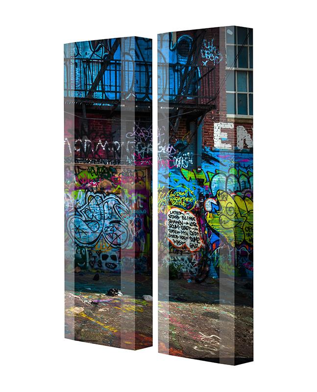 Schuhschrank FLASH Motivschrank Duo FD120 Graffiti weiß 2er Set