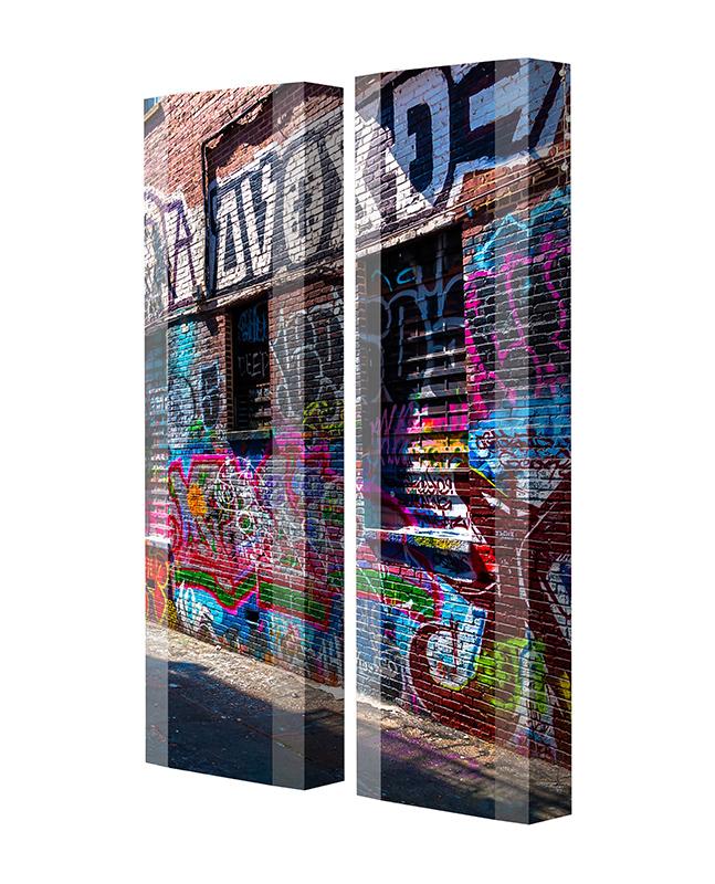 Schuhschrank FLASH Motivschrank Duo FD122 Graffiti weiß 2er Set