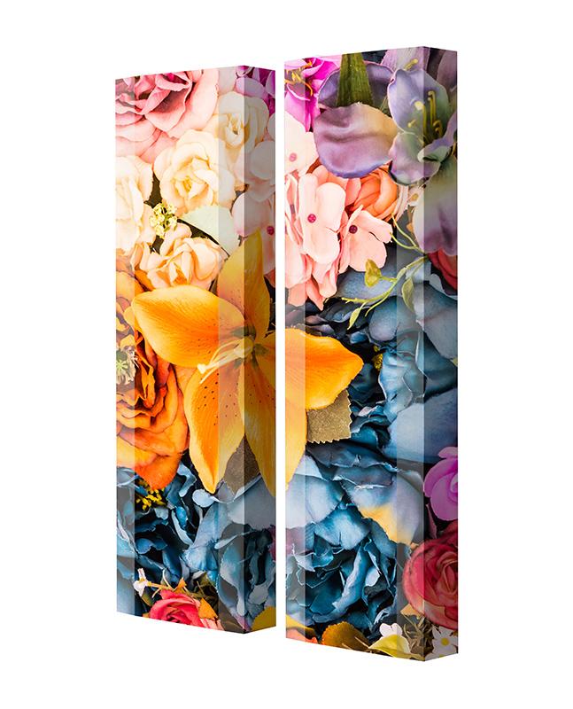Schuhschrank FLASH Motivschrank Duo FD130 Blumen weiß 2er Set