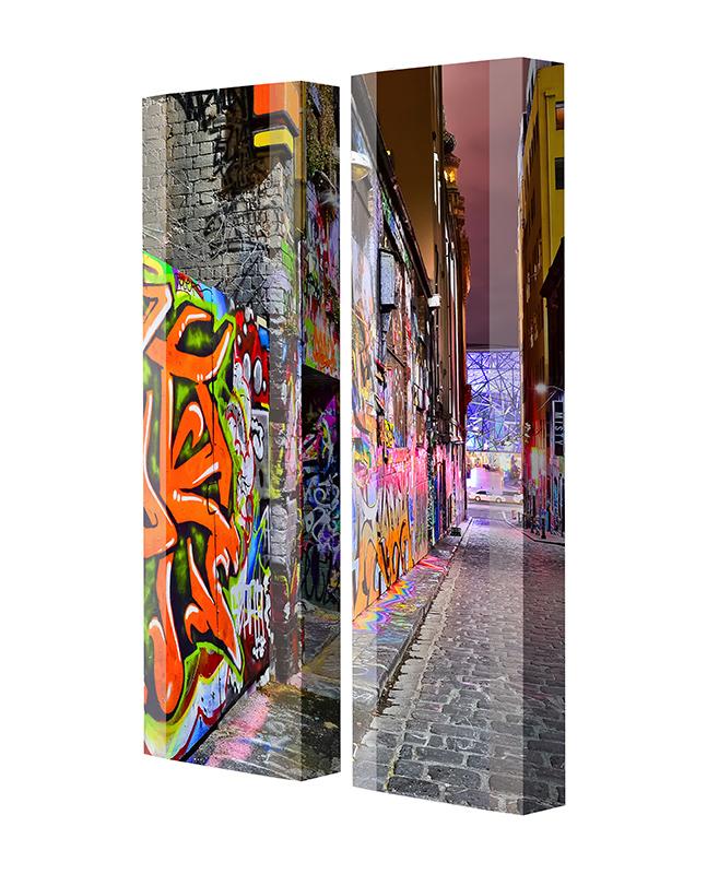 Schuhschrank FLASH Motivschrank Duo FD138 Graffiti weiß 2er Set
