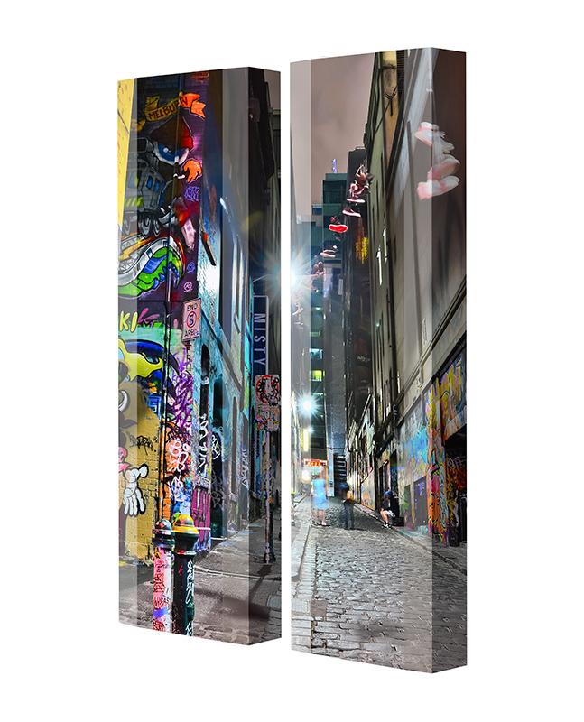 Schuhschrank FLASH Motivschrank Duo FD139 Graffiti weiß 2er Set