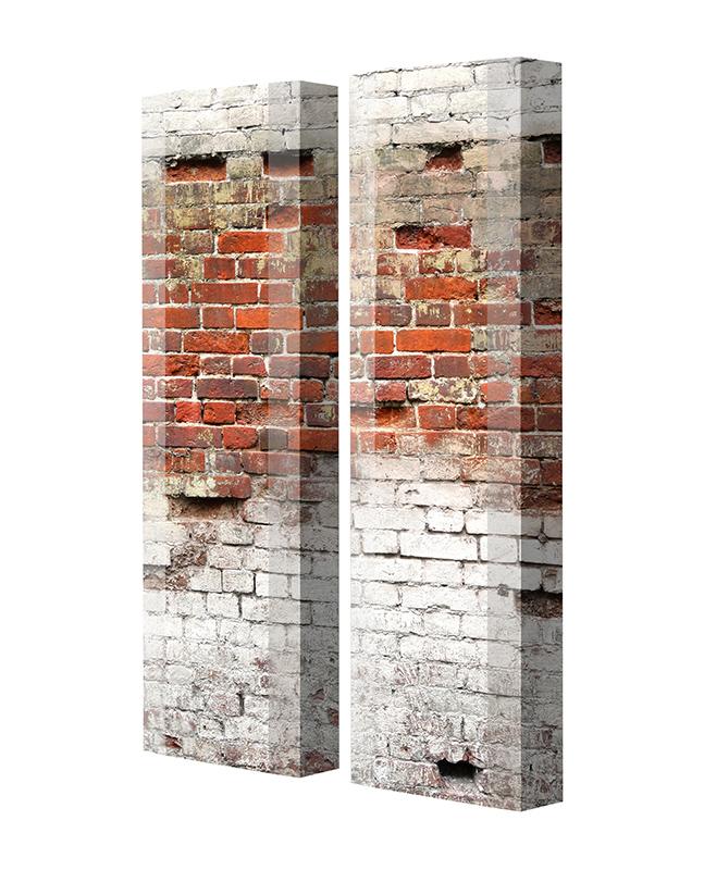 Schuhschrank FLASH Motivschrank Duo FD141 Häuserwand weiß 2er Set