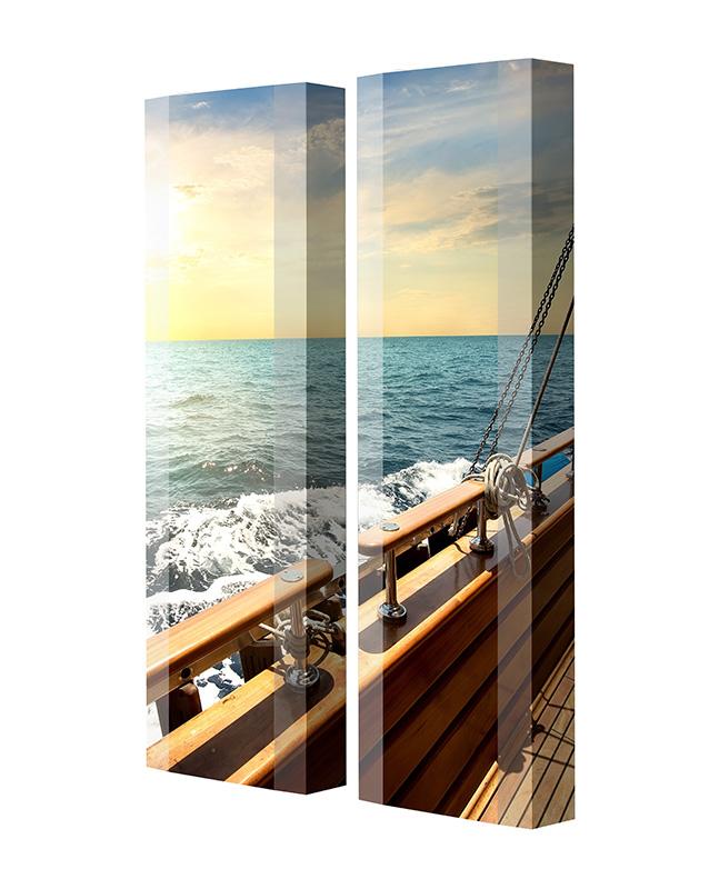Schuhschrank FLASH Motivschrank Duo FD195 Segelboot weiß 2er Set