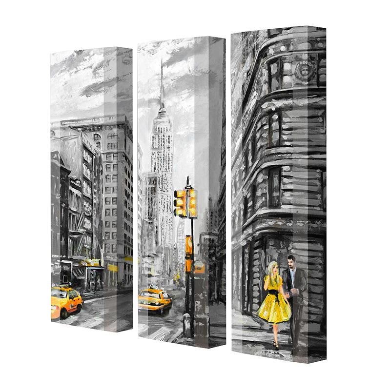 Schuhschrank FLASH Motivschrank Trio FT102 New York weiß 3er Set