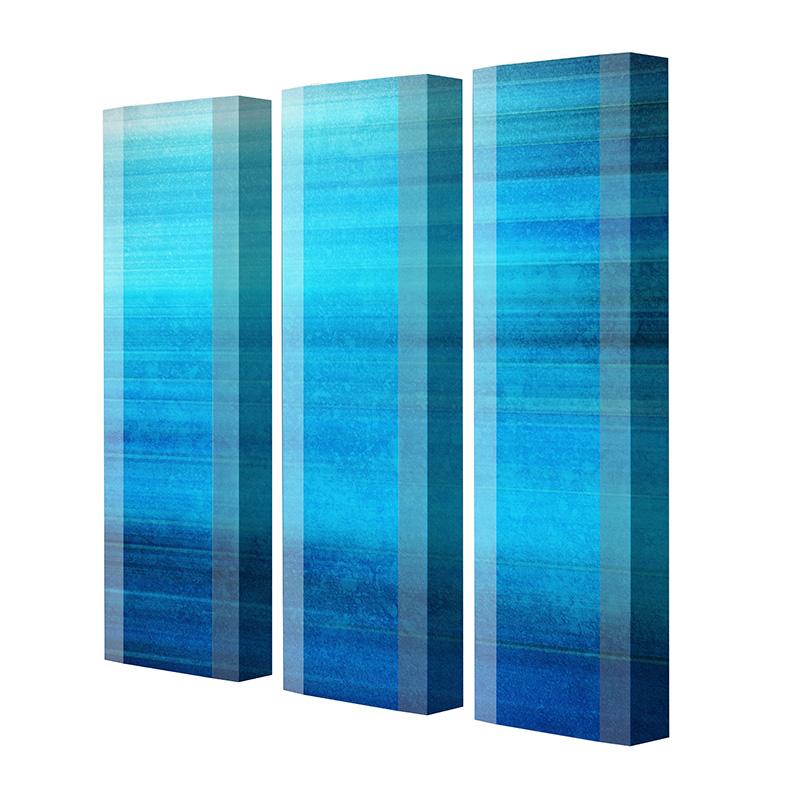 Schuhschrank FLASH Motivschrank Trio FT109 Blau weiß 3er Set