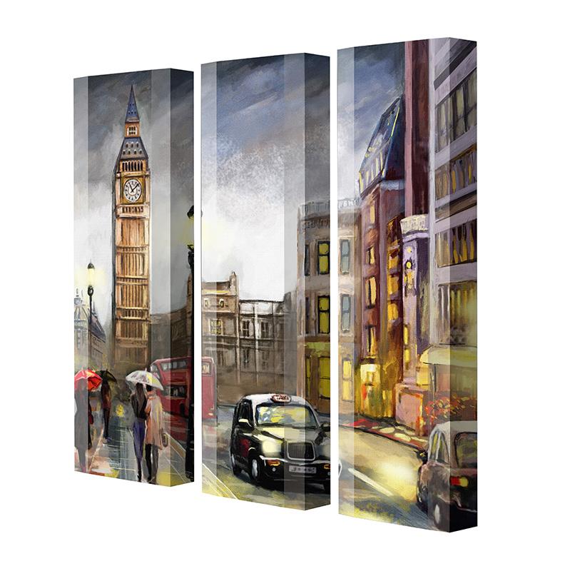 Schuhschrank FLASH Motivschrank Trio FT124 London weiß 3er Set