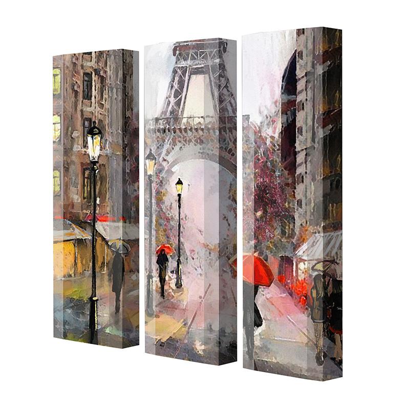 Schuhschrank FLASH Motivschrank Trio FT125 Paris Eifelturm weiß 3er Set