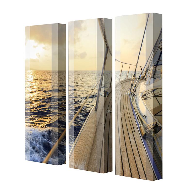 Schuhschrank FLASH Motivschrank Trio FT24 Segelboot weiß 3er Set