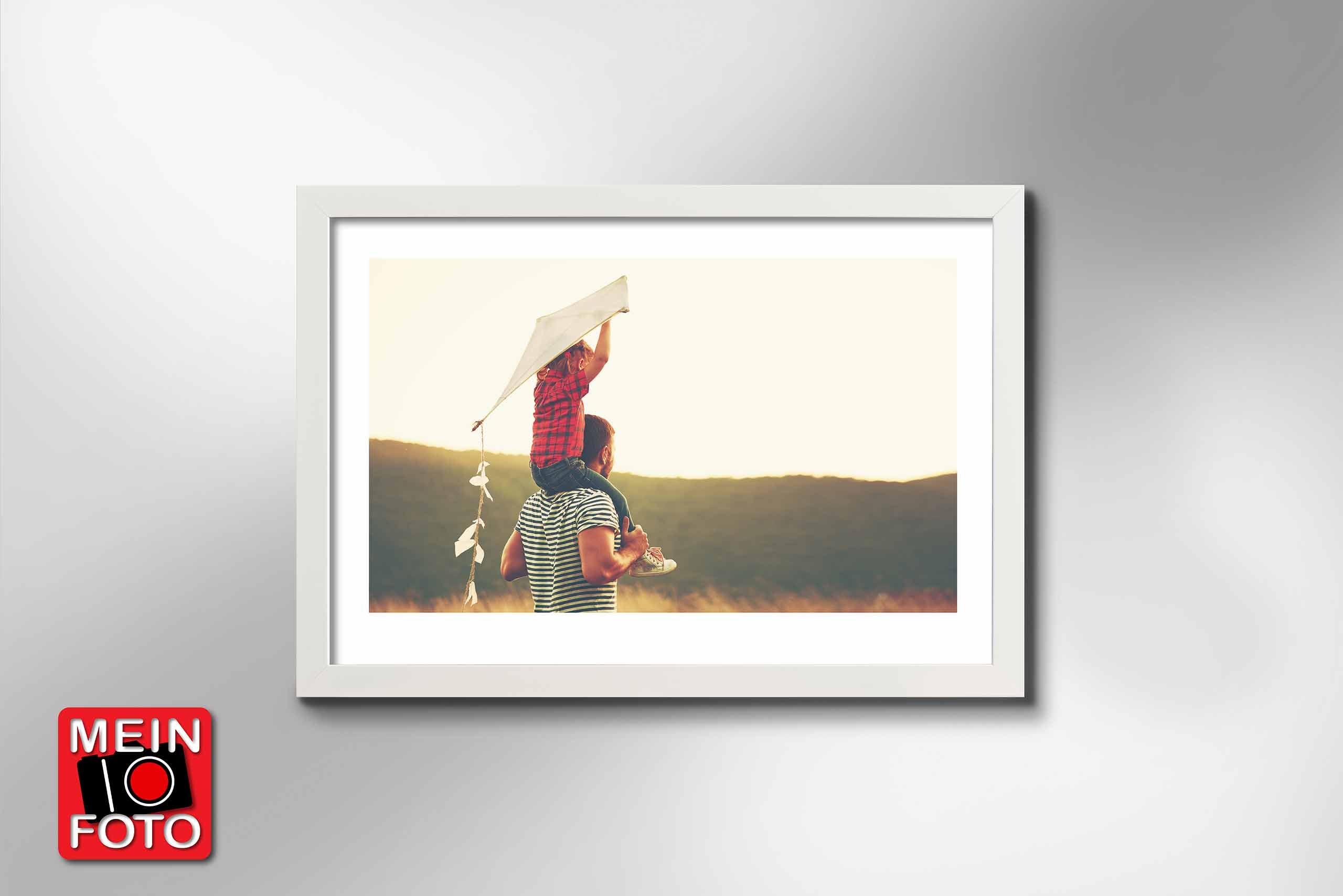 "Wandbild FINE ART WHITE 100x70cm Bilderrahmen Passepartout weiß Motiv ""Mein Foto"""