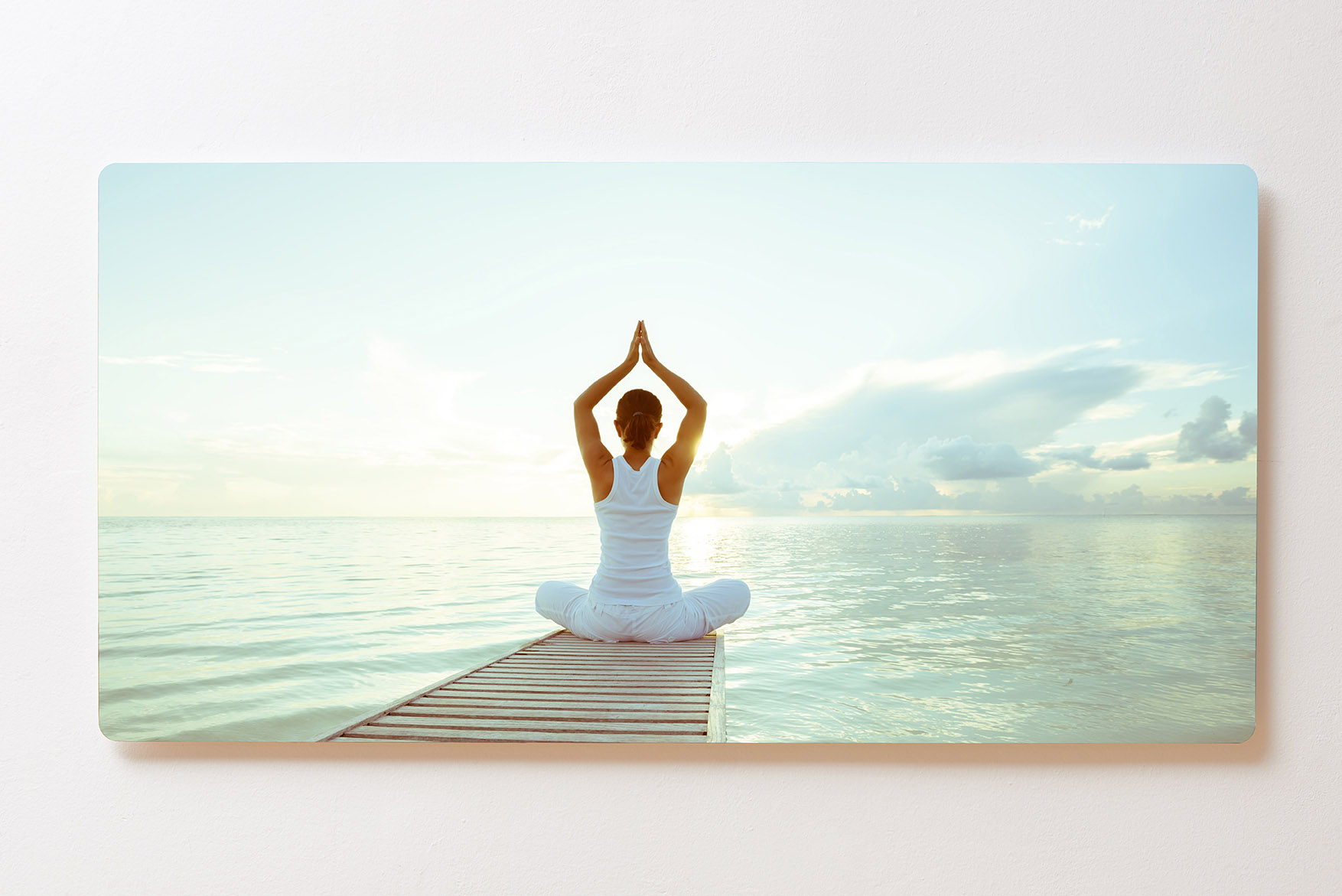 Magnettafel BACKLIGHT 120x60cm Motiv-Wandbild M104 Yoga Sonnenaufgang