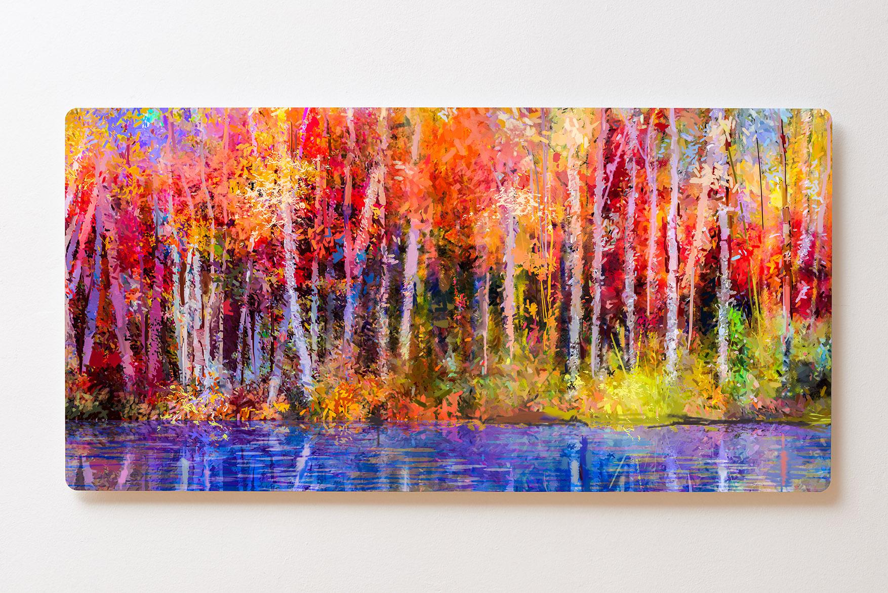 Magnettafel BACKLIGHT 120x60cm Motiv-Wandbild M147 Gemälde Wald Bäume