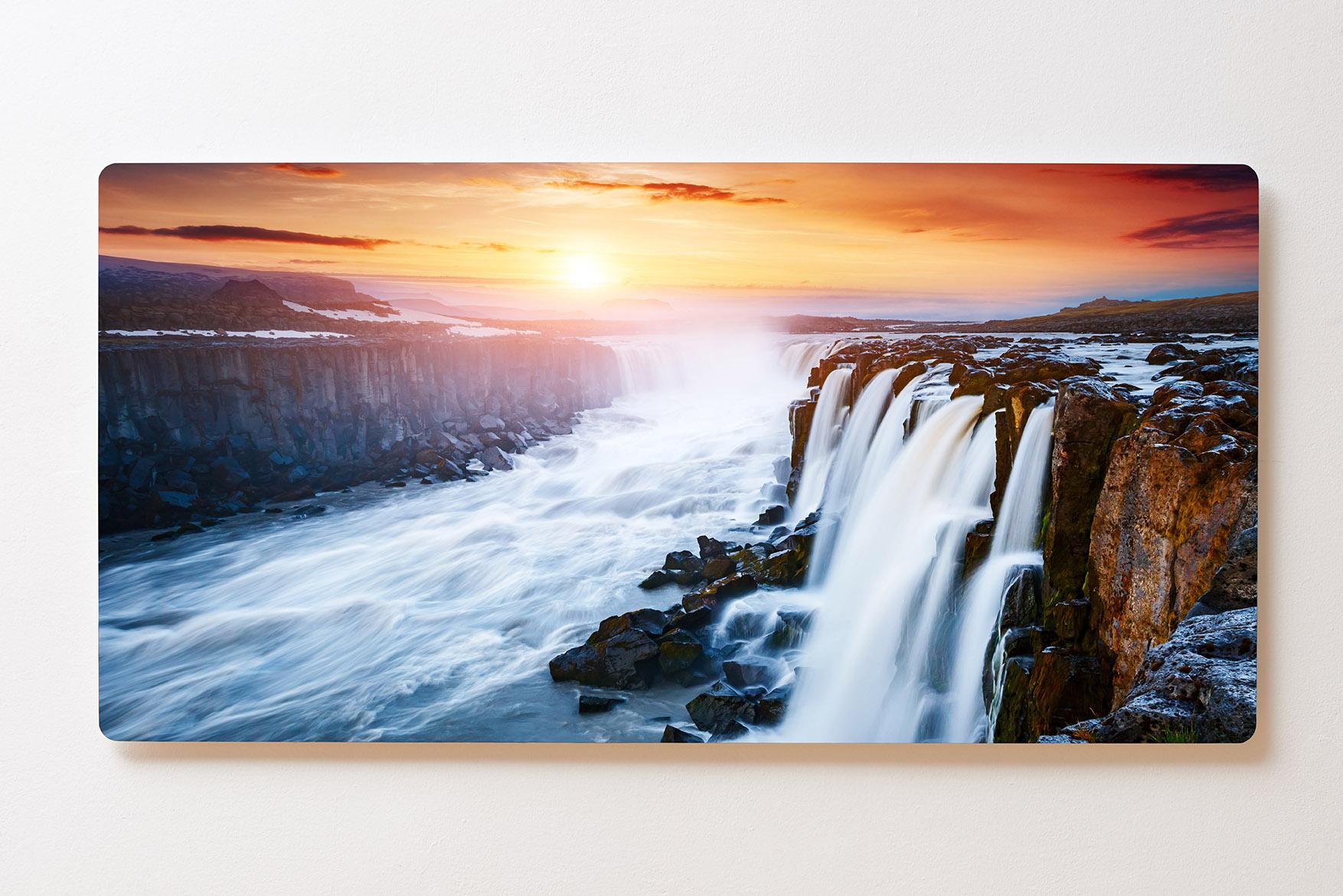 Magnettafel BACKLIGHT 120x60cm Motiv-Wandbild M148 Wasserfall Sonnenuntergang
