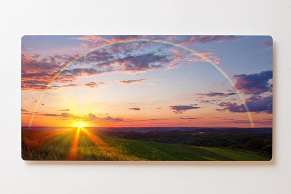 Magnettafel BACKLIGHT 120x60cm Motiv-Wandbild M14 Sonnenaufgang Wiese