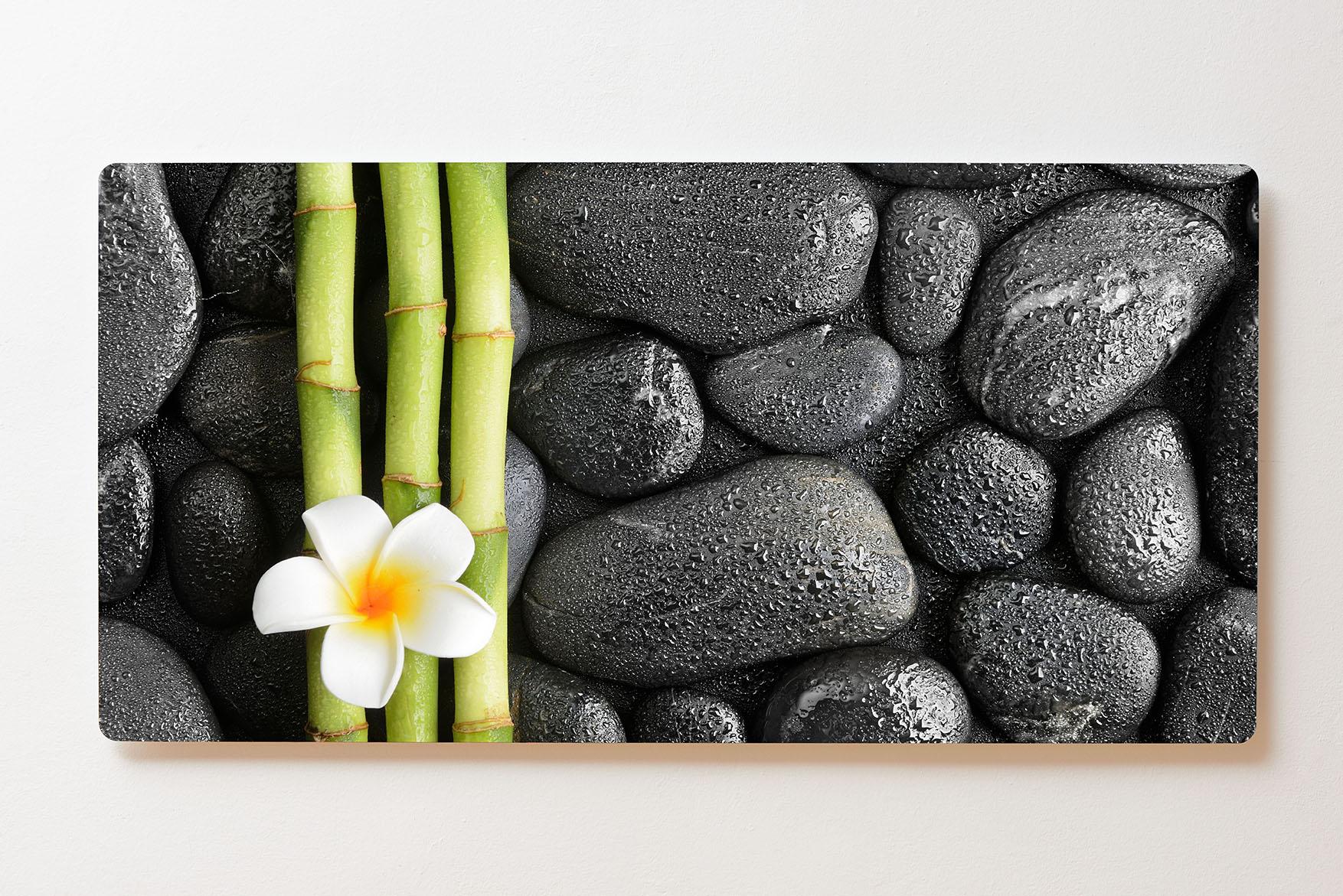 Magnettafel BACKLIGHT 120x60cm Motiv-Wandbild M163 Feng Shui Steine Orchidee