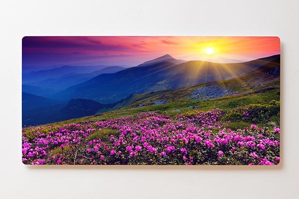 Magnettafel BACKLIGHT 120x60cm Motiv-Wandbild M16 Wiese Berge Sonnenaufgang
