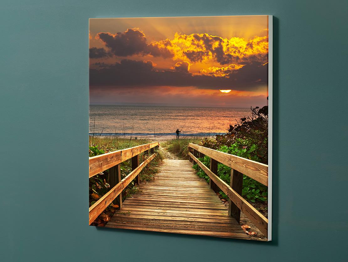 Magnettafel NOTIZ 60x60cm Motiv-Pinnwand M144 Steg Sonnenuntergang