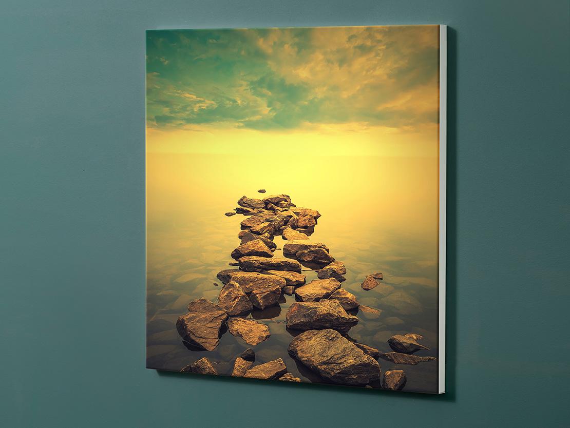 Magnettafel NOTIZ 60x60cm Motiv-Pinnwand M155 Steine Sonnenuntergang