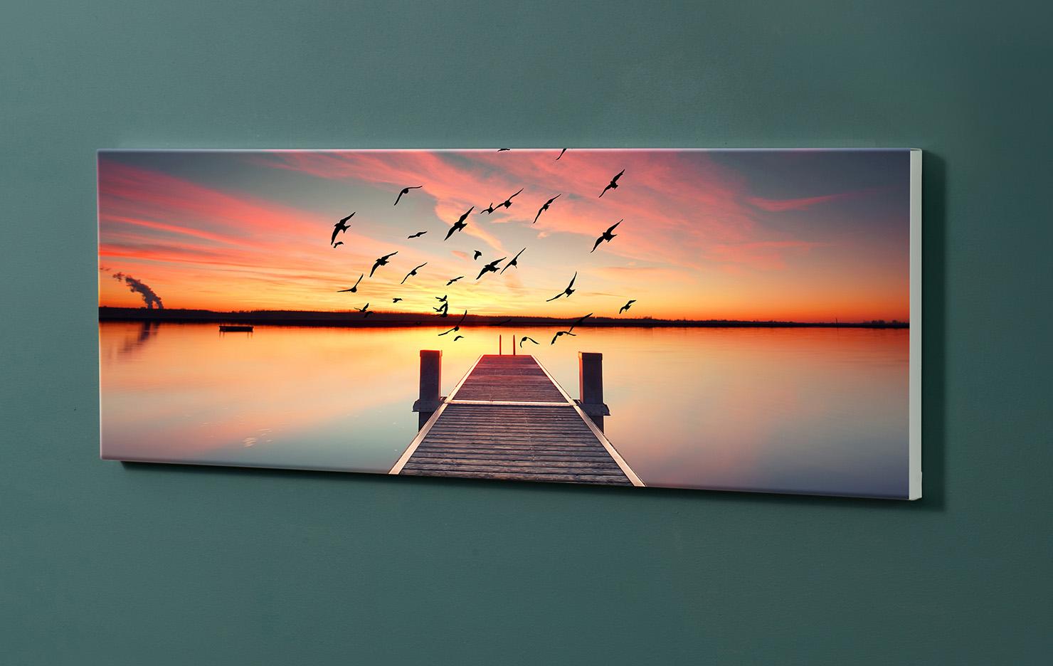 Magnettafel NOTIZ 90x30cm Motiv-Pinnwand M100 Steg Sonnenuntergang