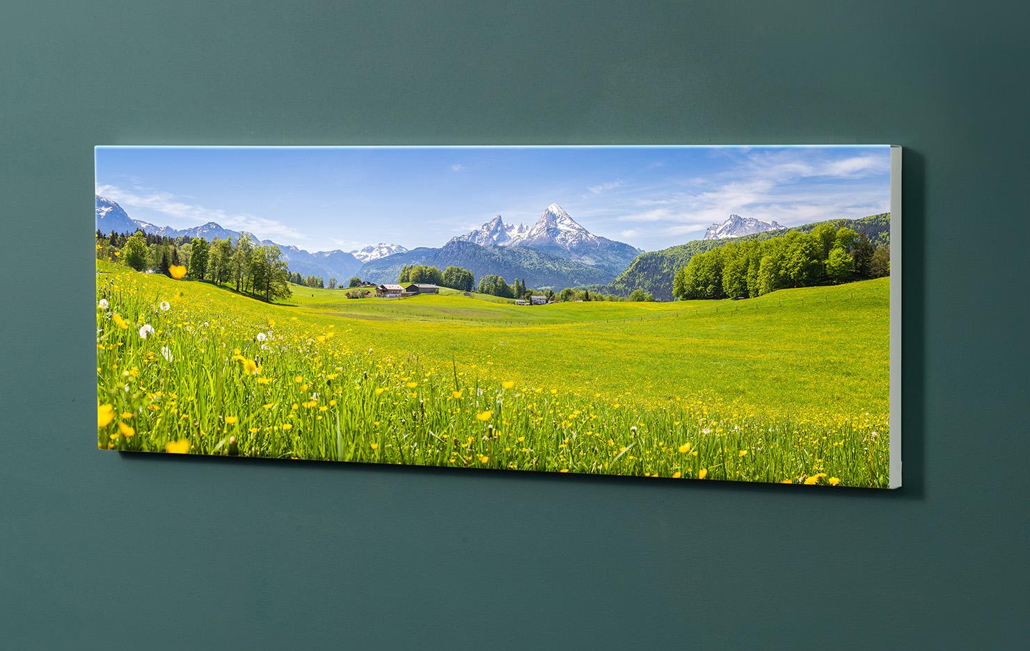 Magnettafel NOTIZ 90x30cm Motiv-Pinnwand M108 Wiese Berge