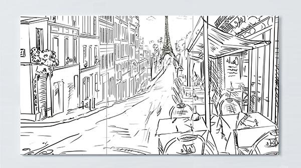 Magnettafel NOTIZ 120x60cm Motiv Paris Eifelturm MP36 Motiv-Pinnwand