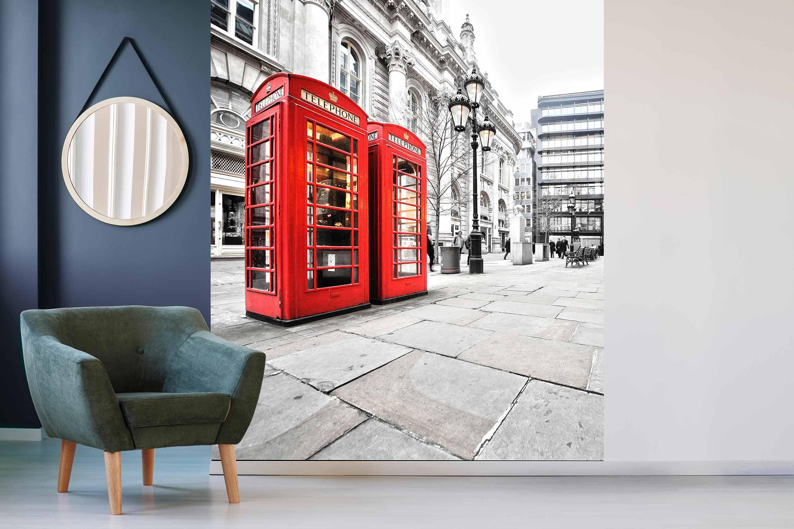 Vlies Tapete 225 Fototapete Höhe 250cm Motiv 05 London Telephone Booth