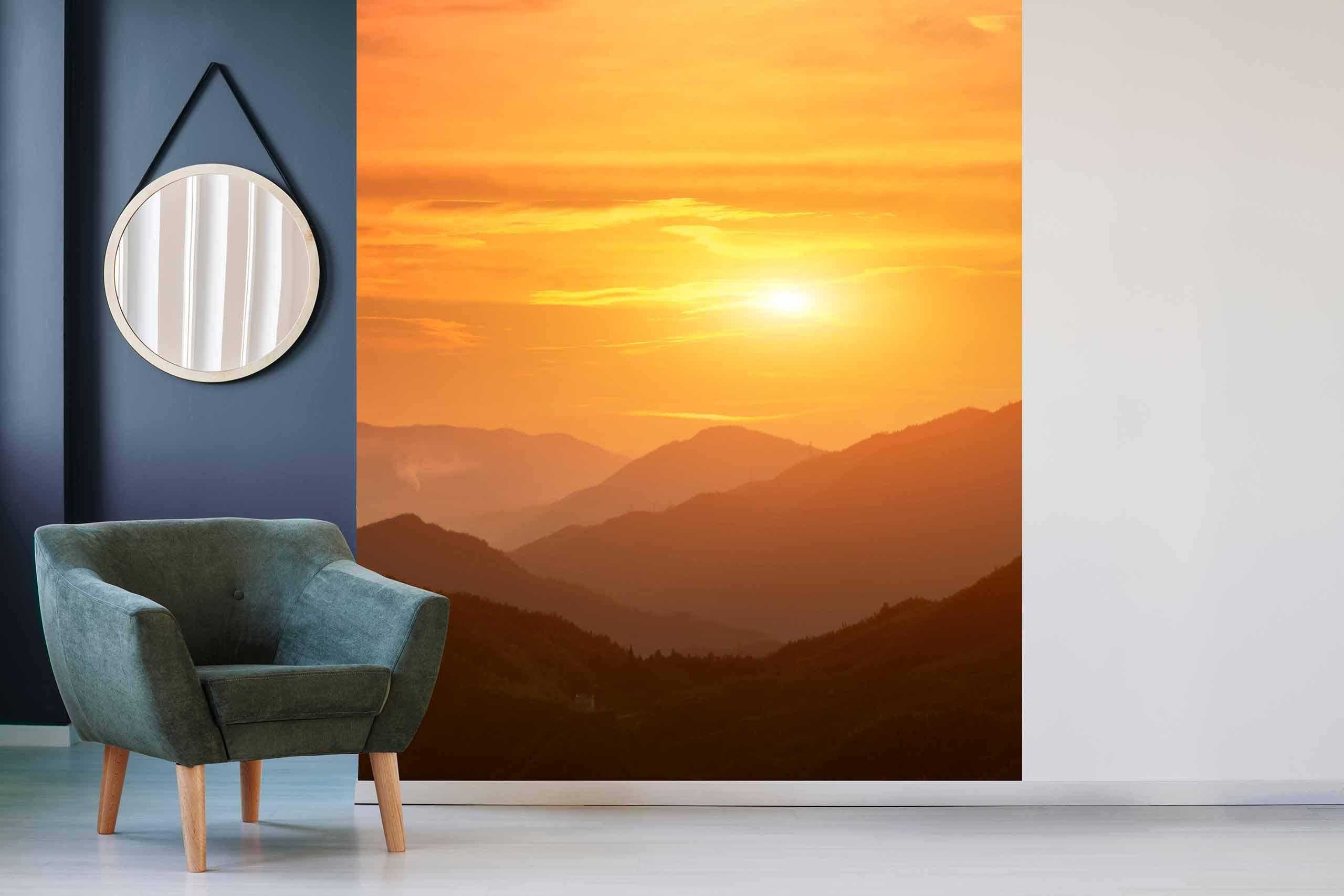 Vlies Tapete 225 Fototapete Höhe 250cm Motiv 11 Sonnenaufgang Berge