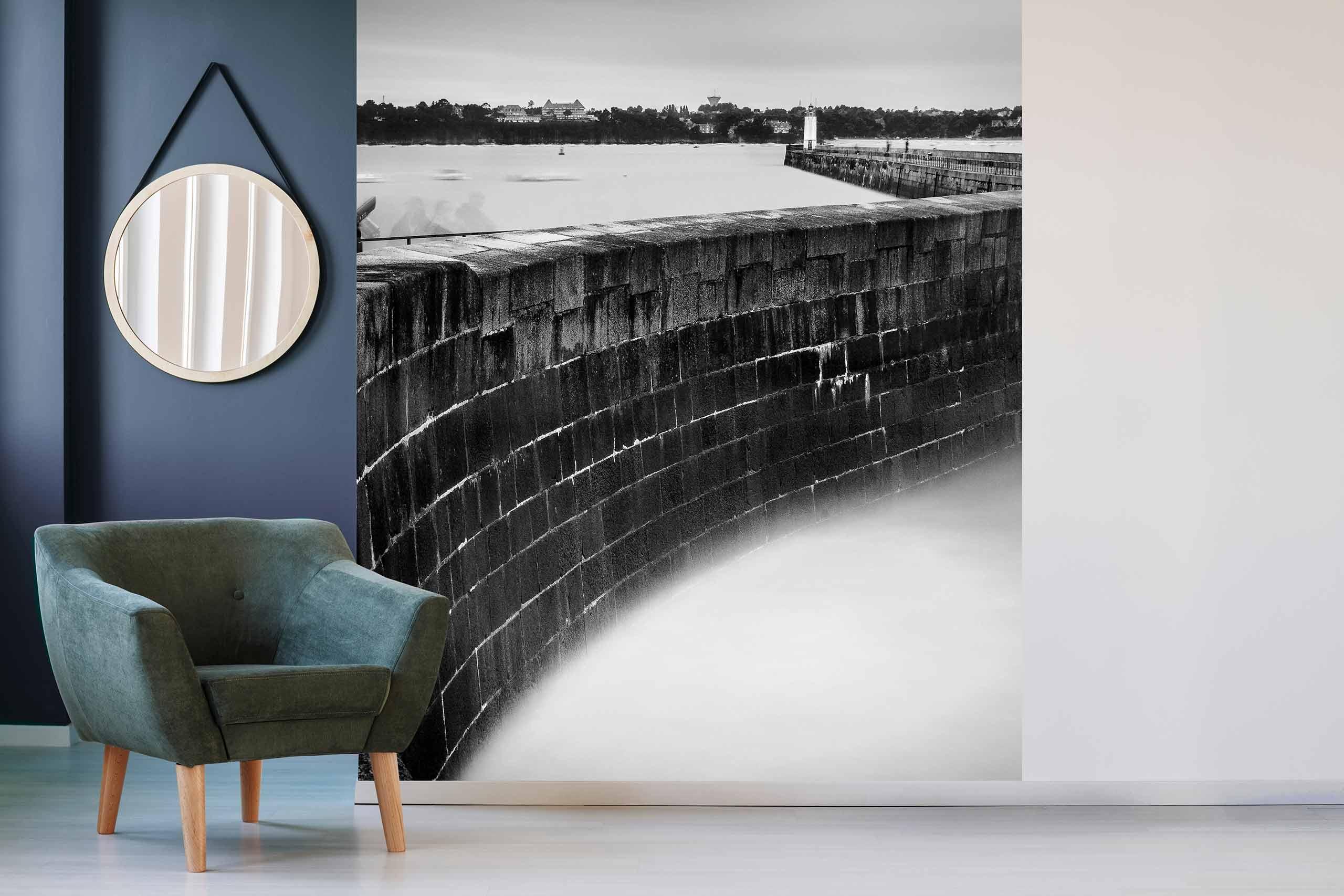 Vlies Tapete 225 Fototapete Höhe 250cm Motiv 118 See Schwarz-Weiß