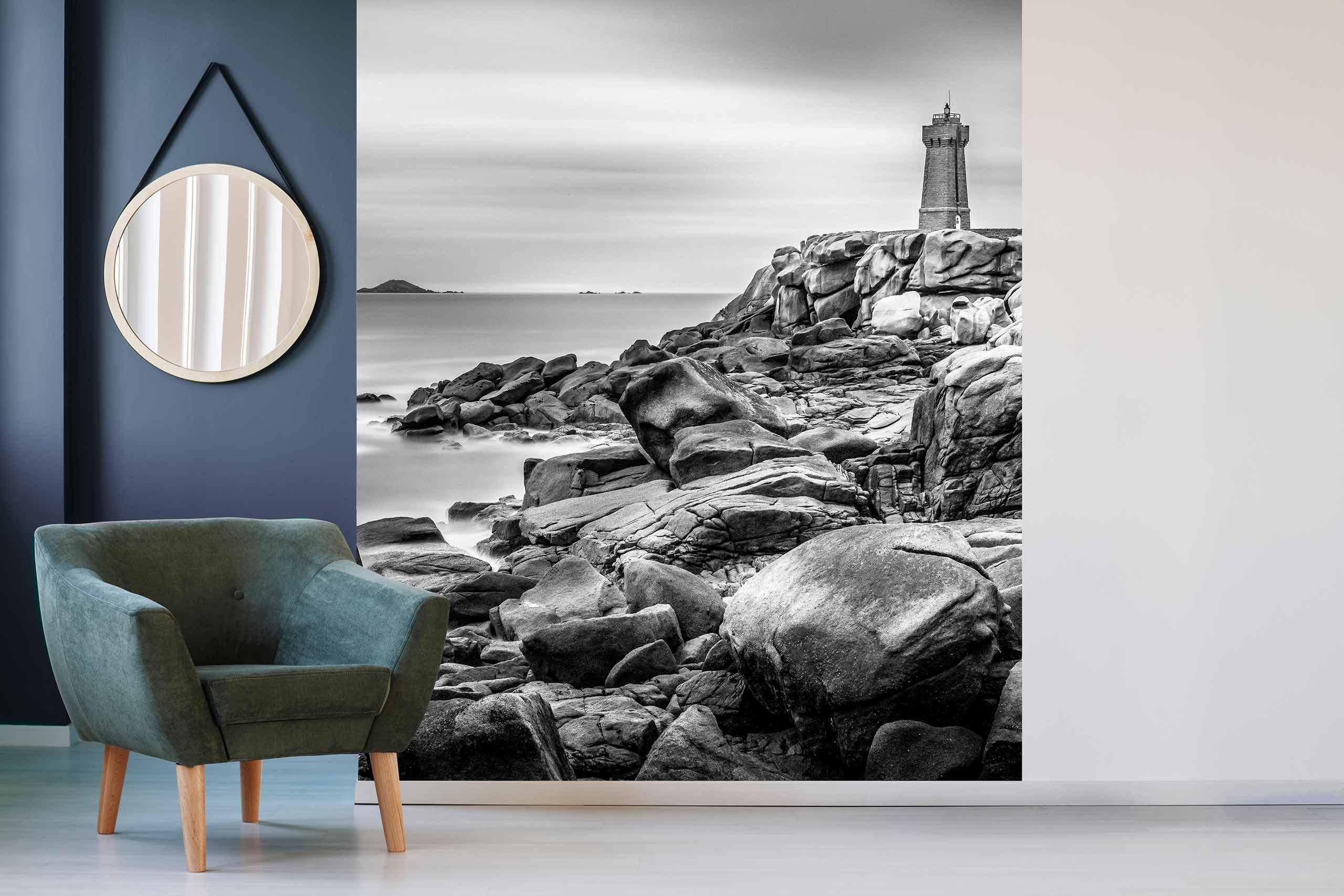 Vlies Tapete 225 Fototapete Höhe 250cm Motiv 119 Leuchtturm Schwarz-Weiß