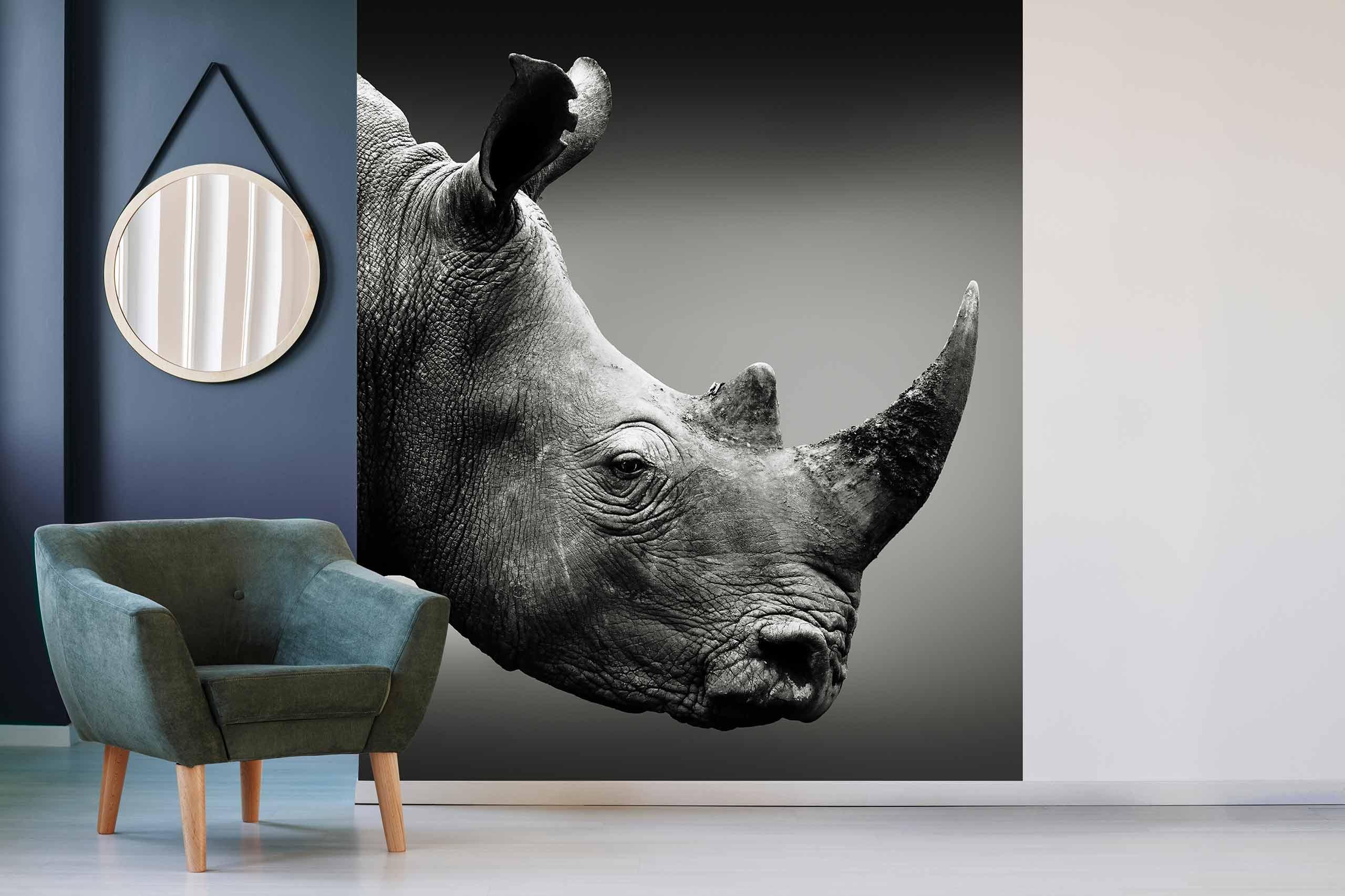 Vlies Tapete 225 Fototapete Höhe 250cm Motiv 136 Nashorn Schwarz-Weiß