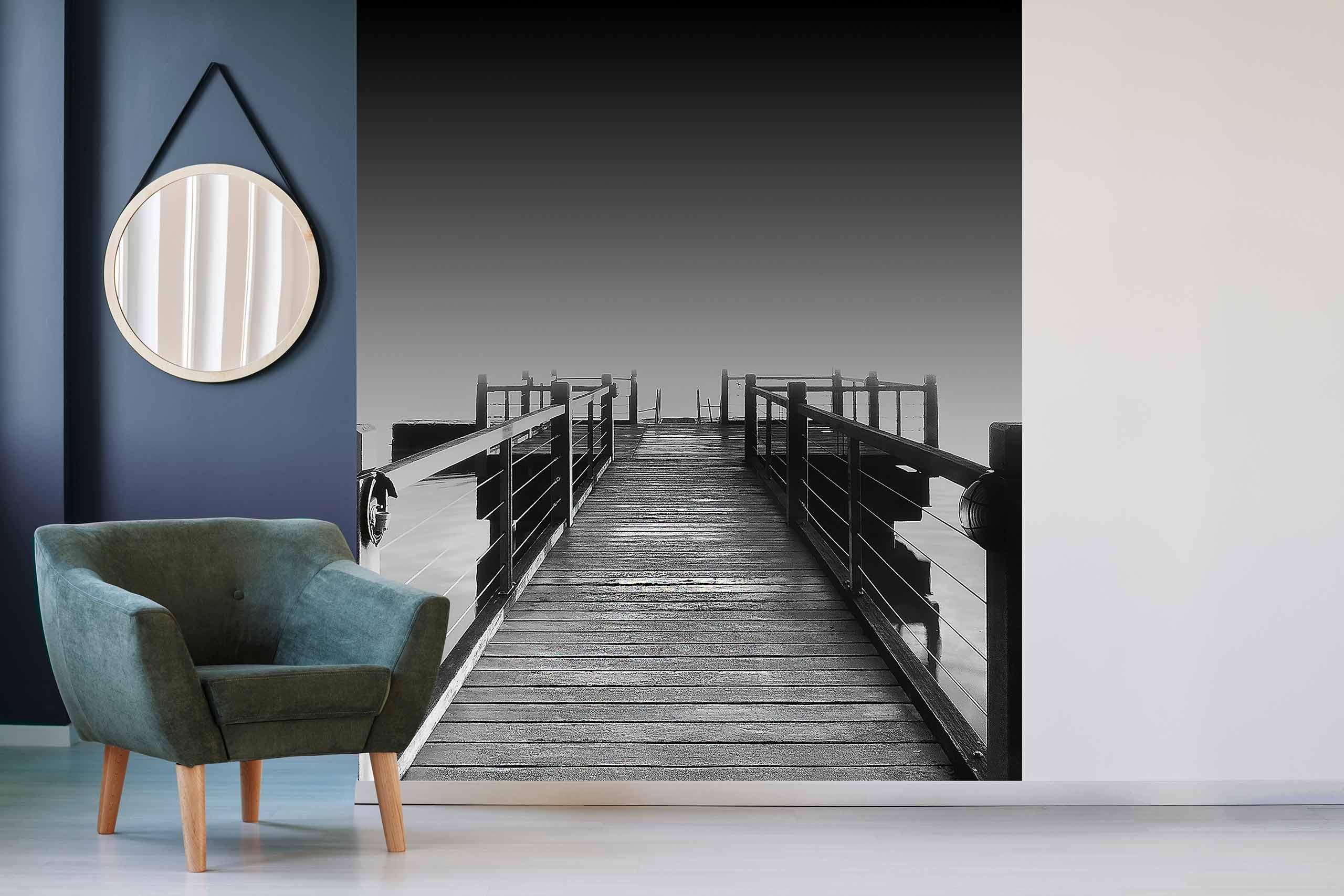Vlies Tapete 225 Fototapete Höhe 250cm Motiv 153 Steg Schwarz-Weiß