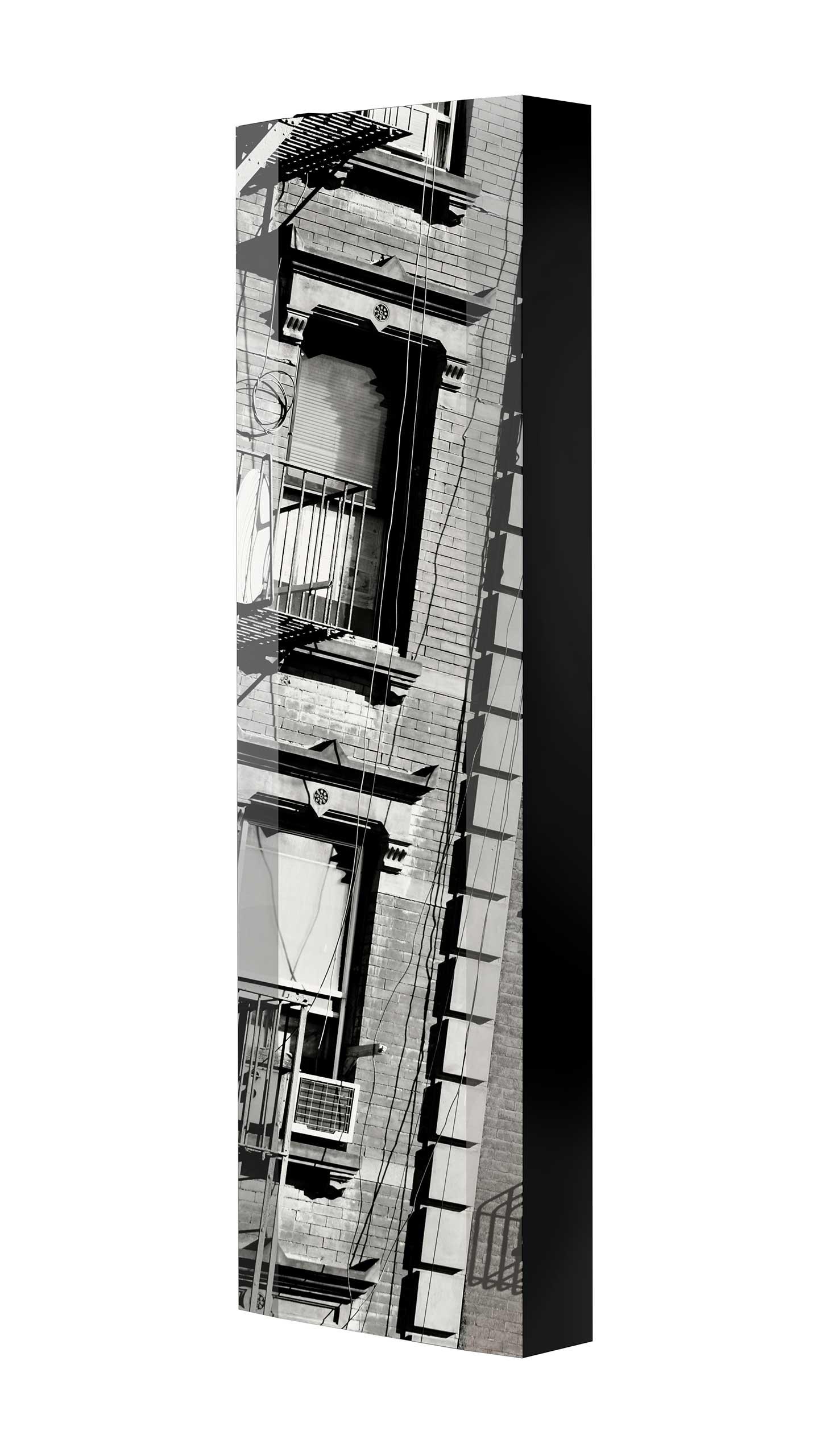 Schuhschrank FLASH 450 BLACK-EDITION Motivschrank schwarz drehbar M09 Häuserwand Schwarz-Weiß