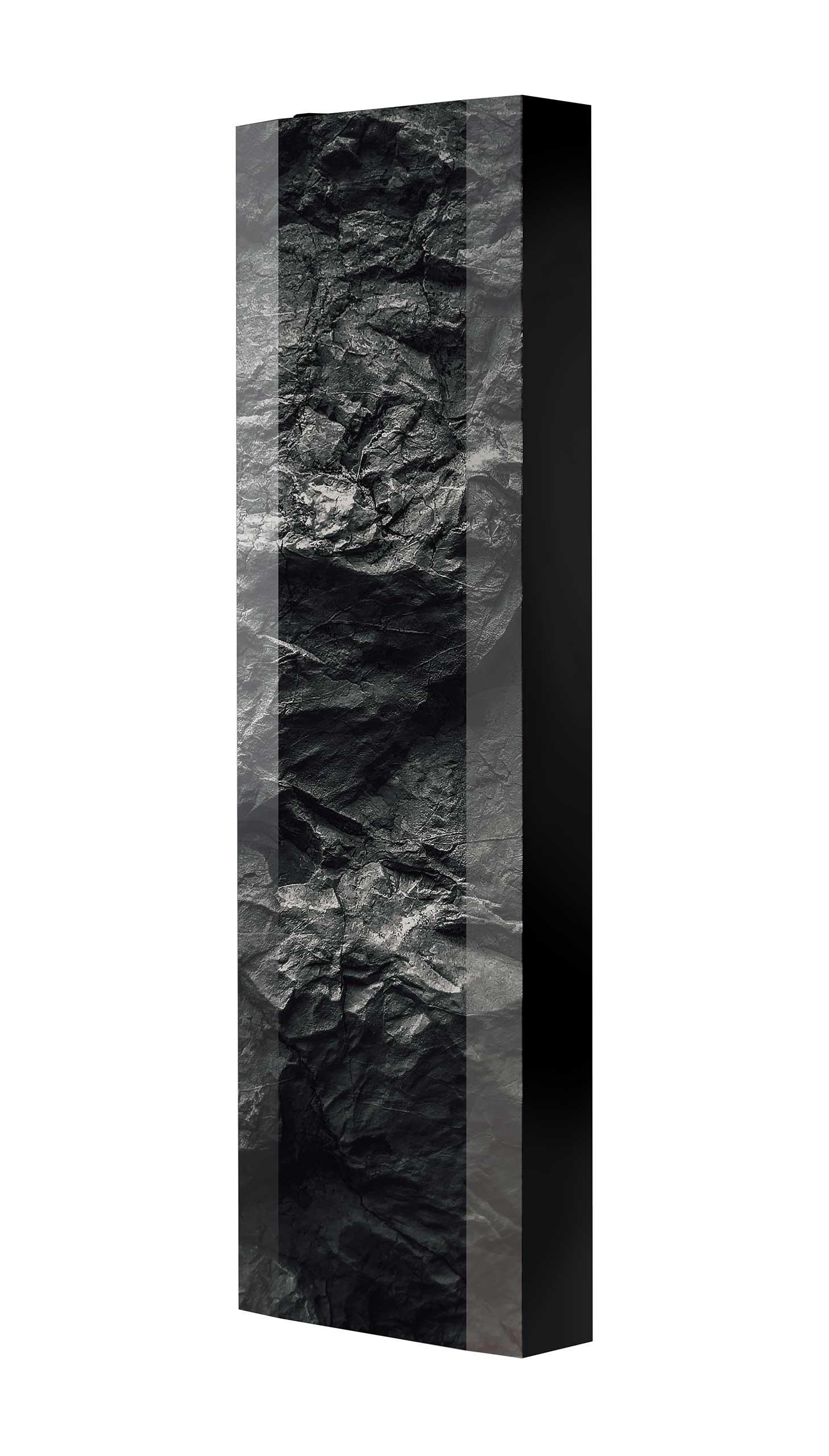 Schuhschrank FLASH 450 BLACK-EDITION Motivschrank schwarz drehbar M100 Felsen Schwarz-Weiß