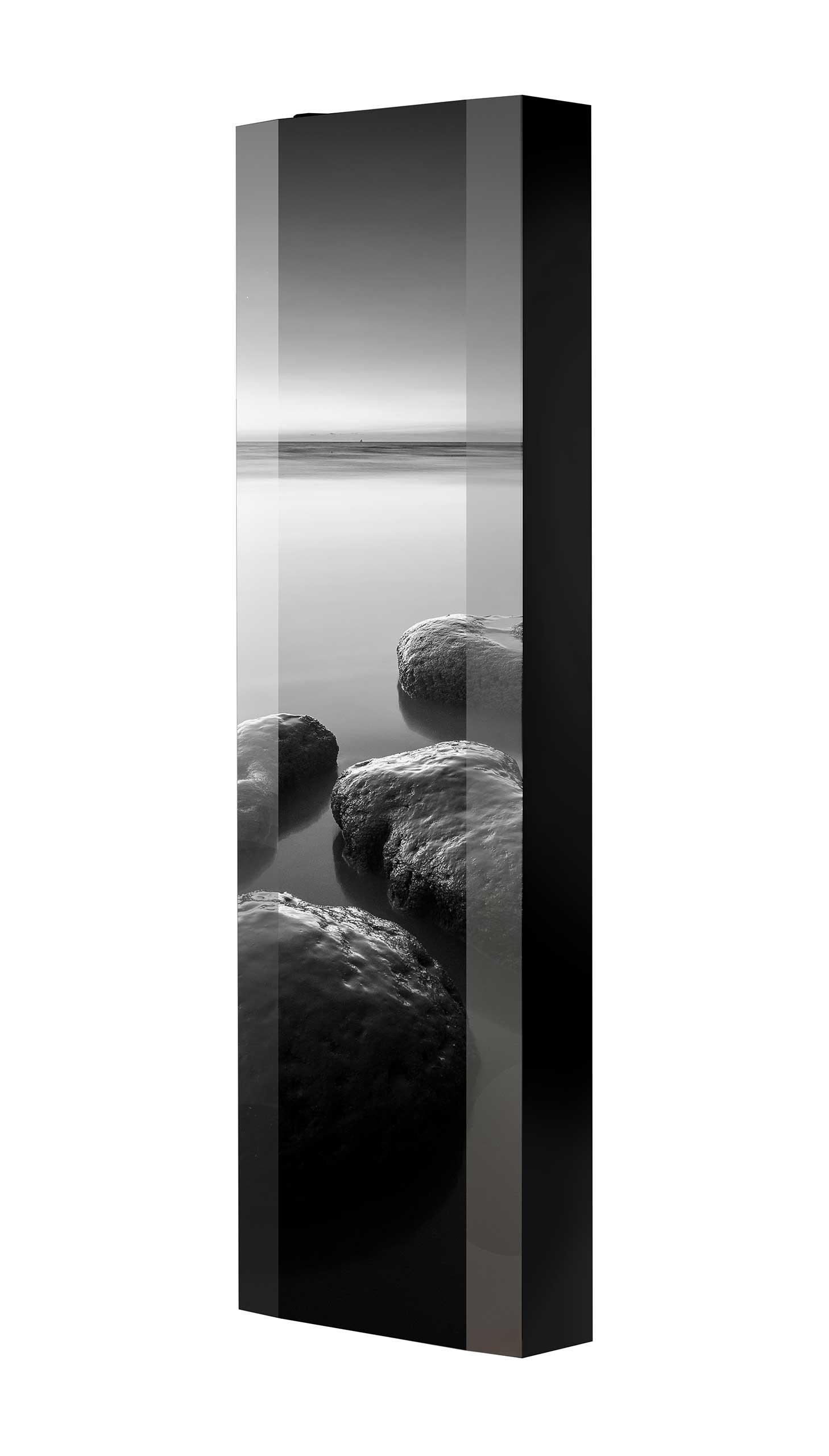 Schuhschrank FLASH 450 BLACK-EDITION Motivschrank schwarz drehbar M105 Felsen Schwarz-Weiß