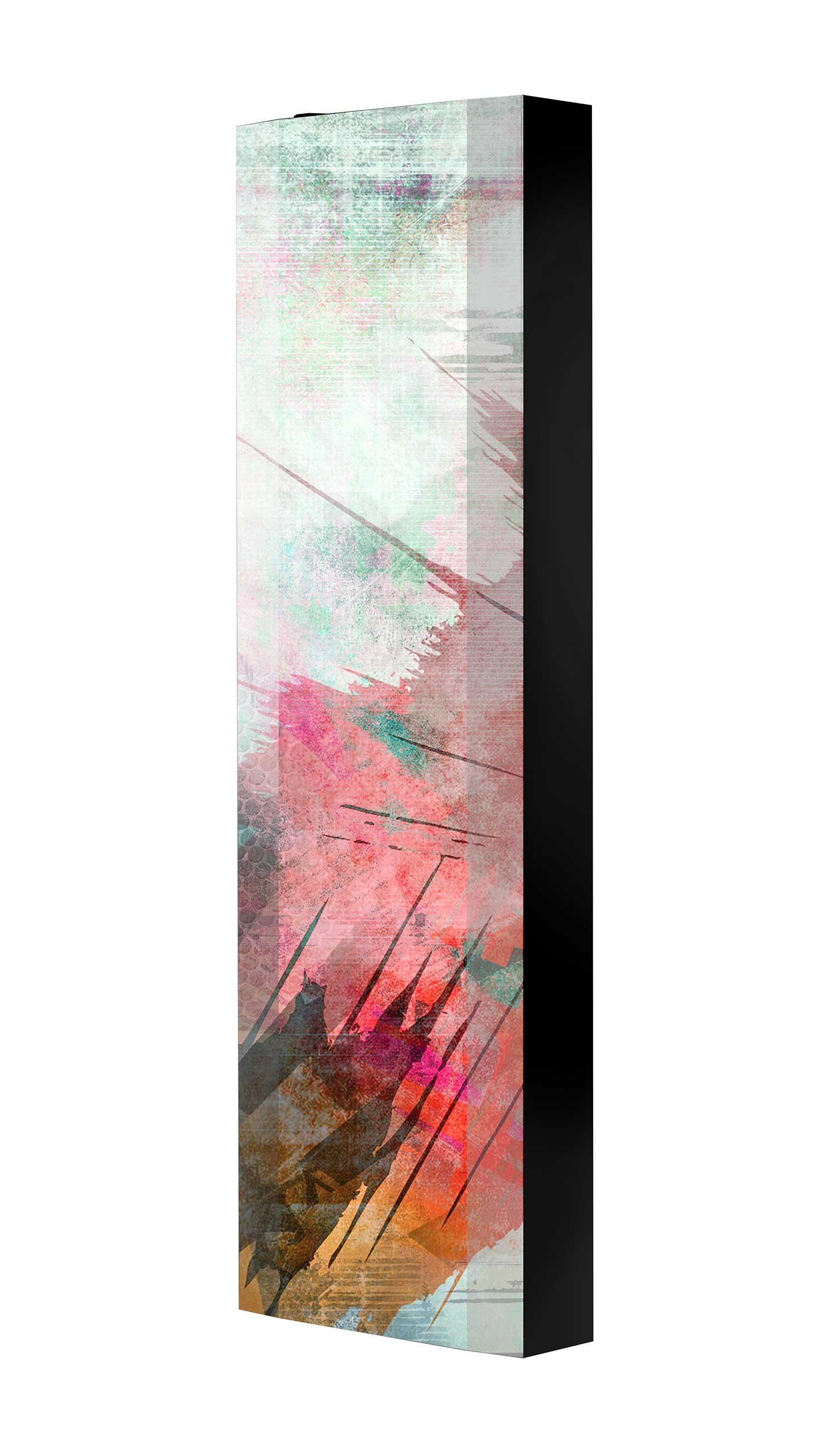 Schuhschrank FLASH 450 BLACK-EDITION Motivschrank schwarz drehbar M10 Abstrakt Kunst