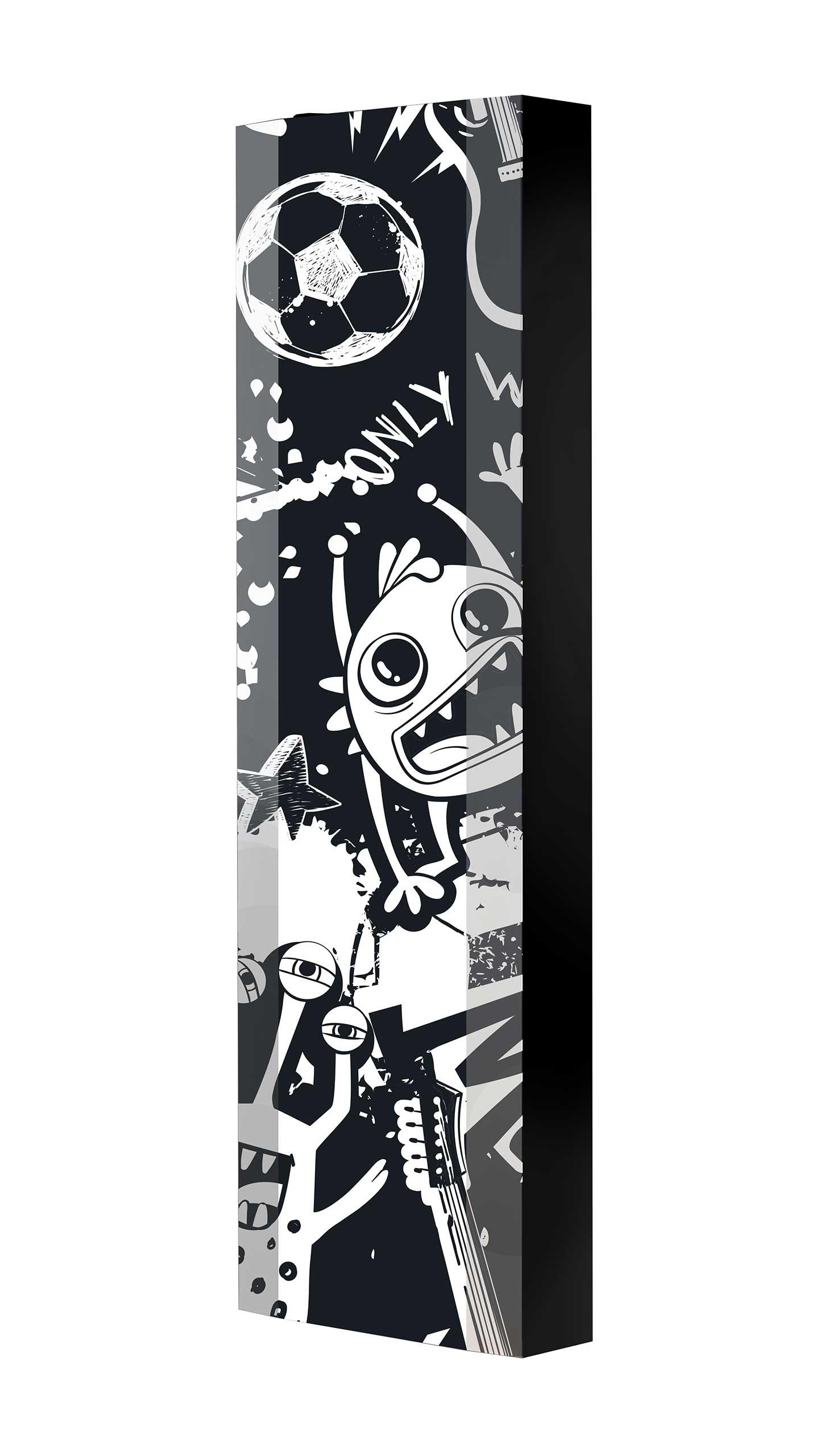 Schuhschrank FLASH 450 BLACK-EDITION Motivschrank schwarz drehbar M120 Graffiti