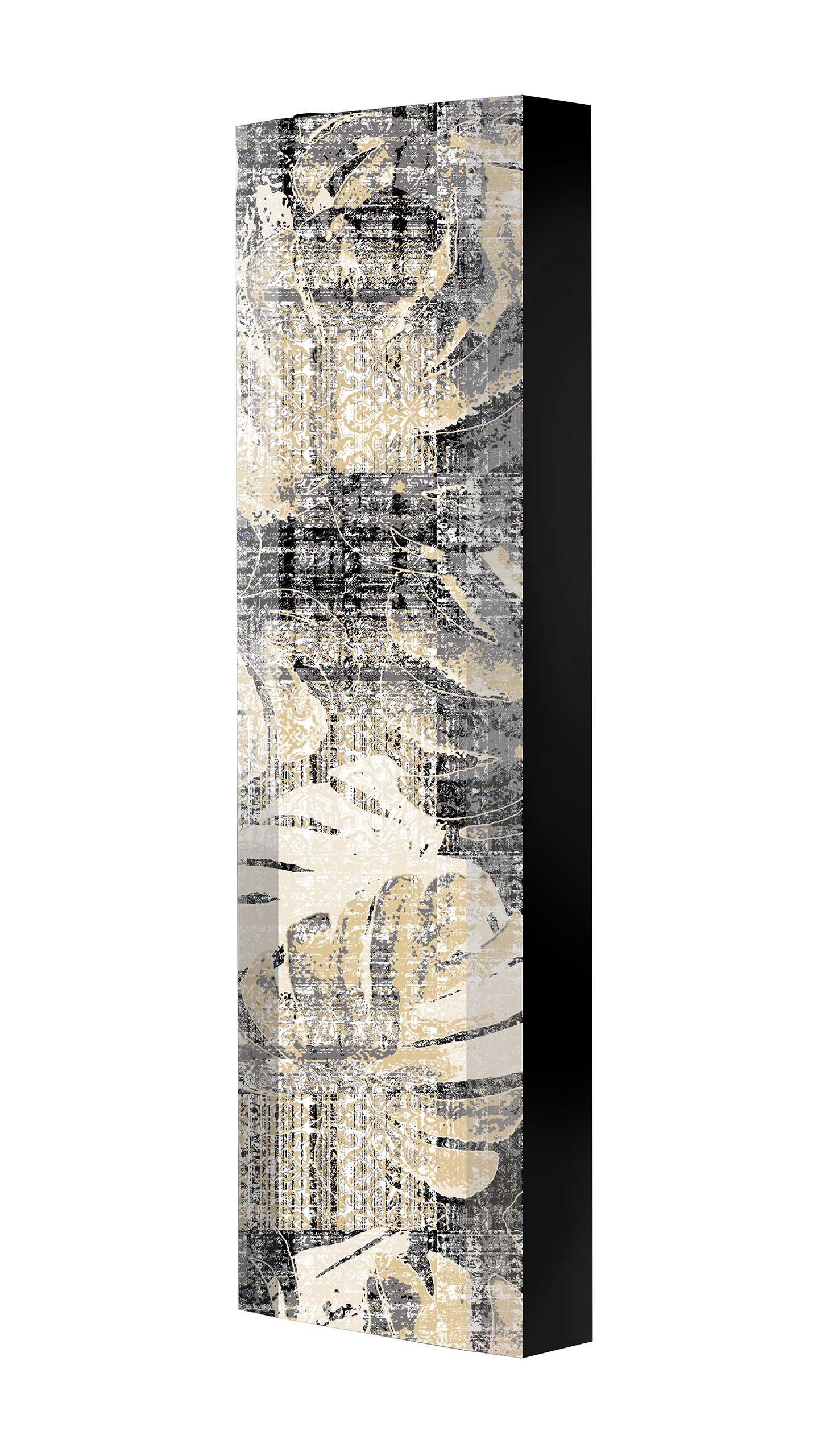 Schuhschrank FLASH 450 BLACK-EDITION Motivschrank schwarz drehbar M121 Tapete Vintage