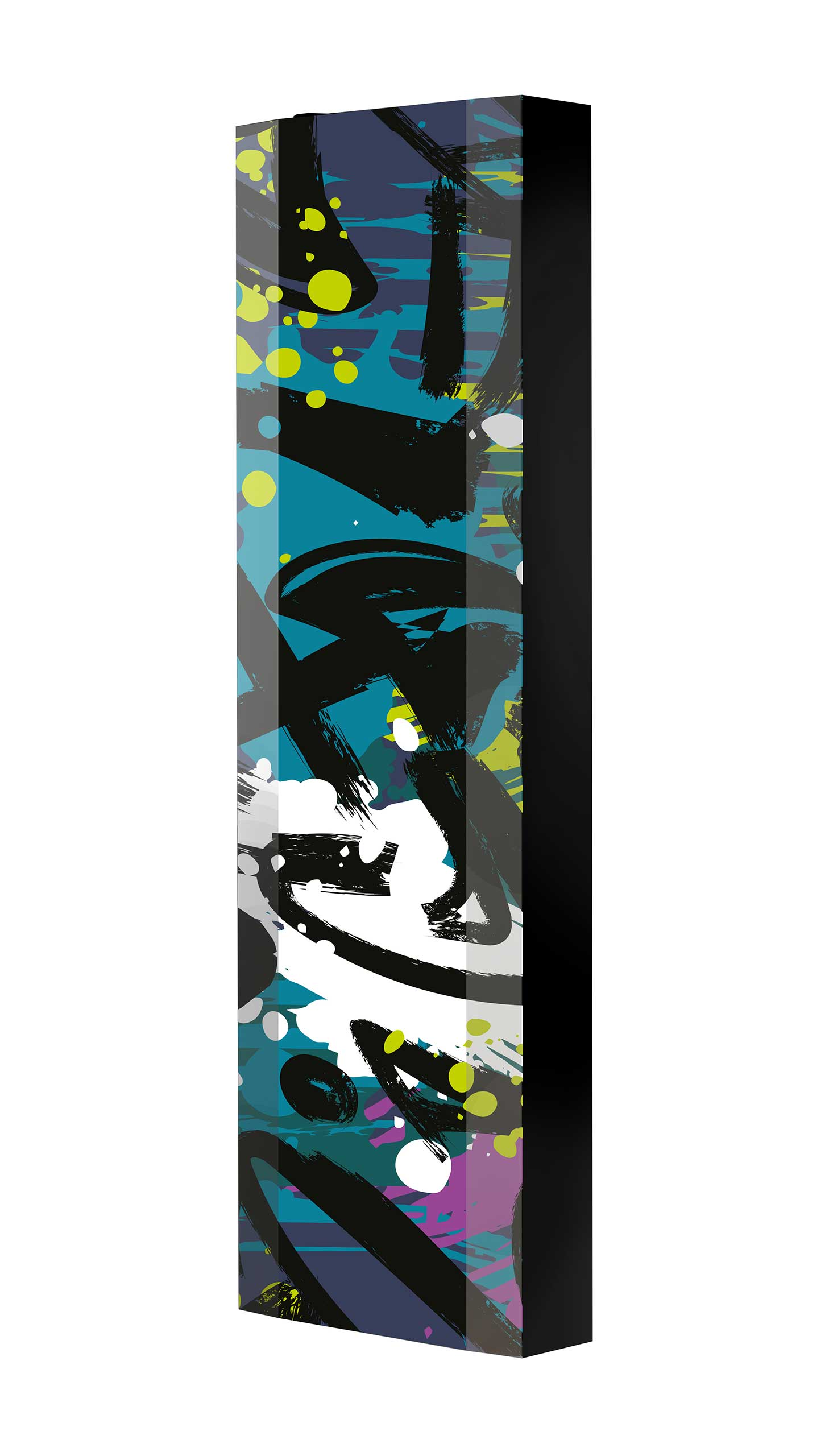 Schuhschrank FLASH 450 BLACK-EDITION Motivschrank schwarz drehbar M134 Graffiti