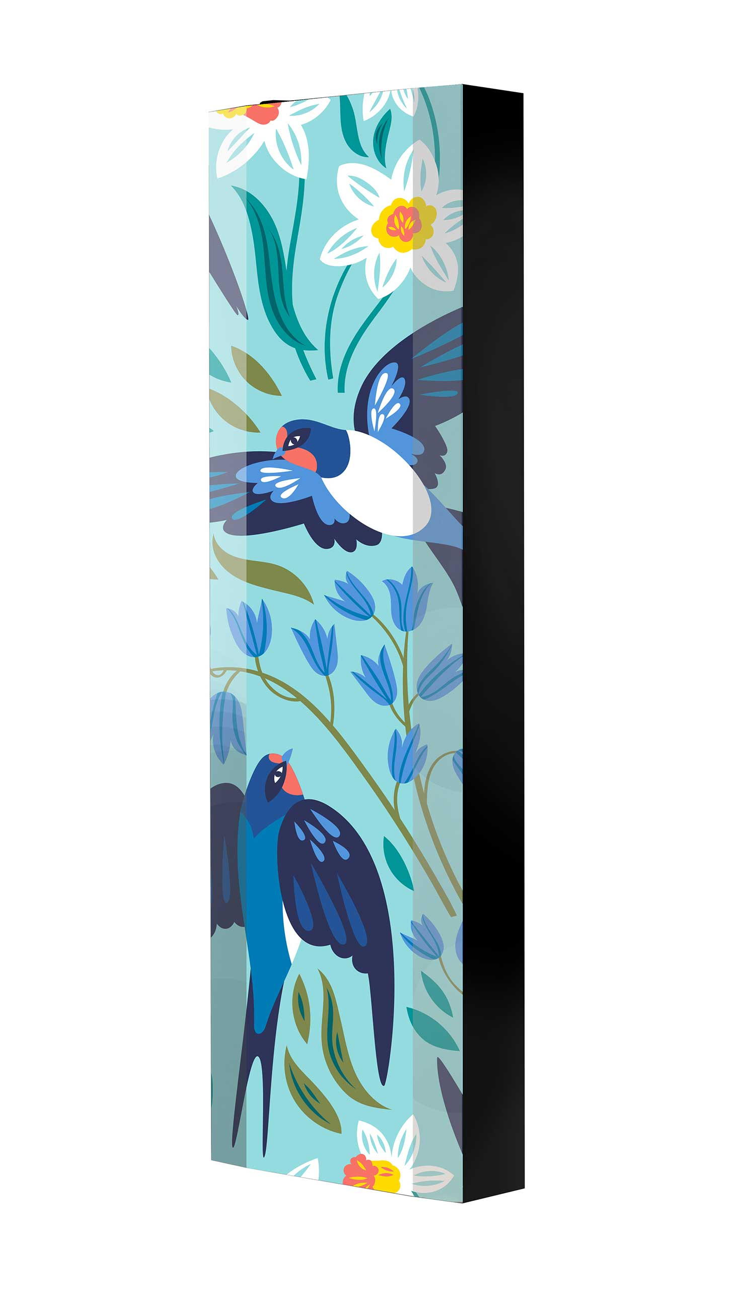 Schuhschrank FLASH 450 BLACK-EDITION Motivschrank schwarz drehbar M137 Vögel