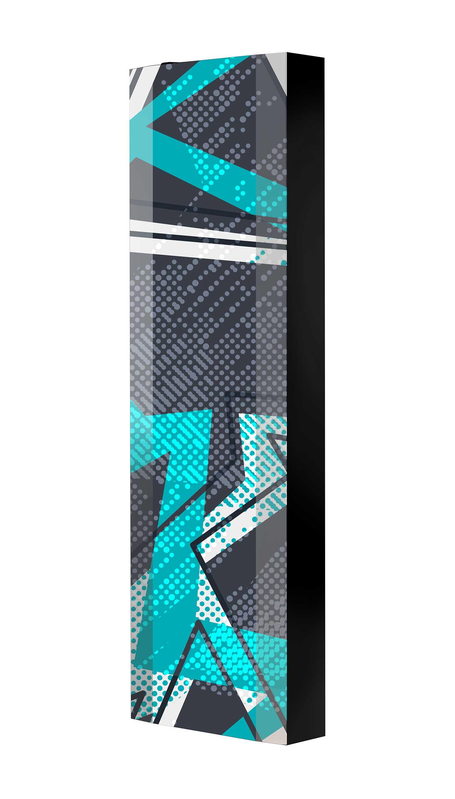 Schuhschrank FLASH 450 BLACK-EDITION Motivschrank schwarz drehbar M138 Graffiti