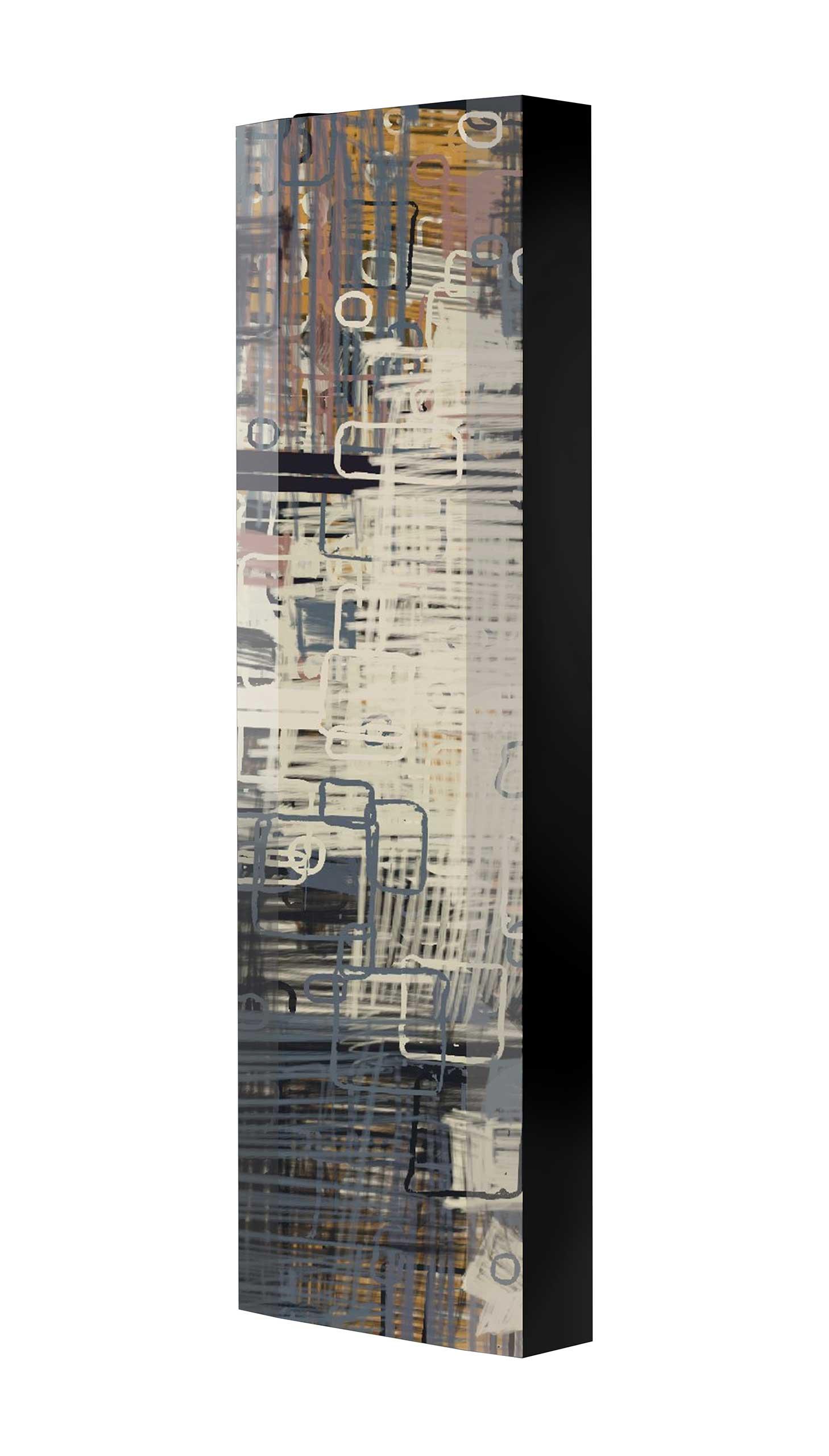 Schuhschrank FLASH 450 BLACK-EDITION Motivschrank schwarz drehbar M140 Abstrakt Kunst