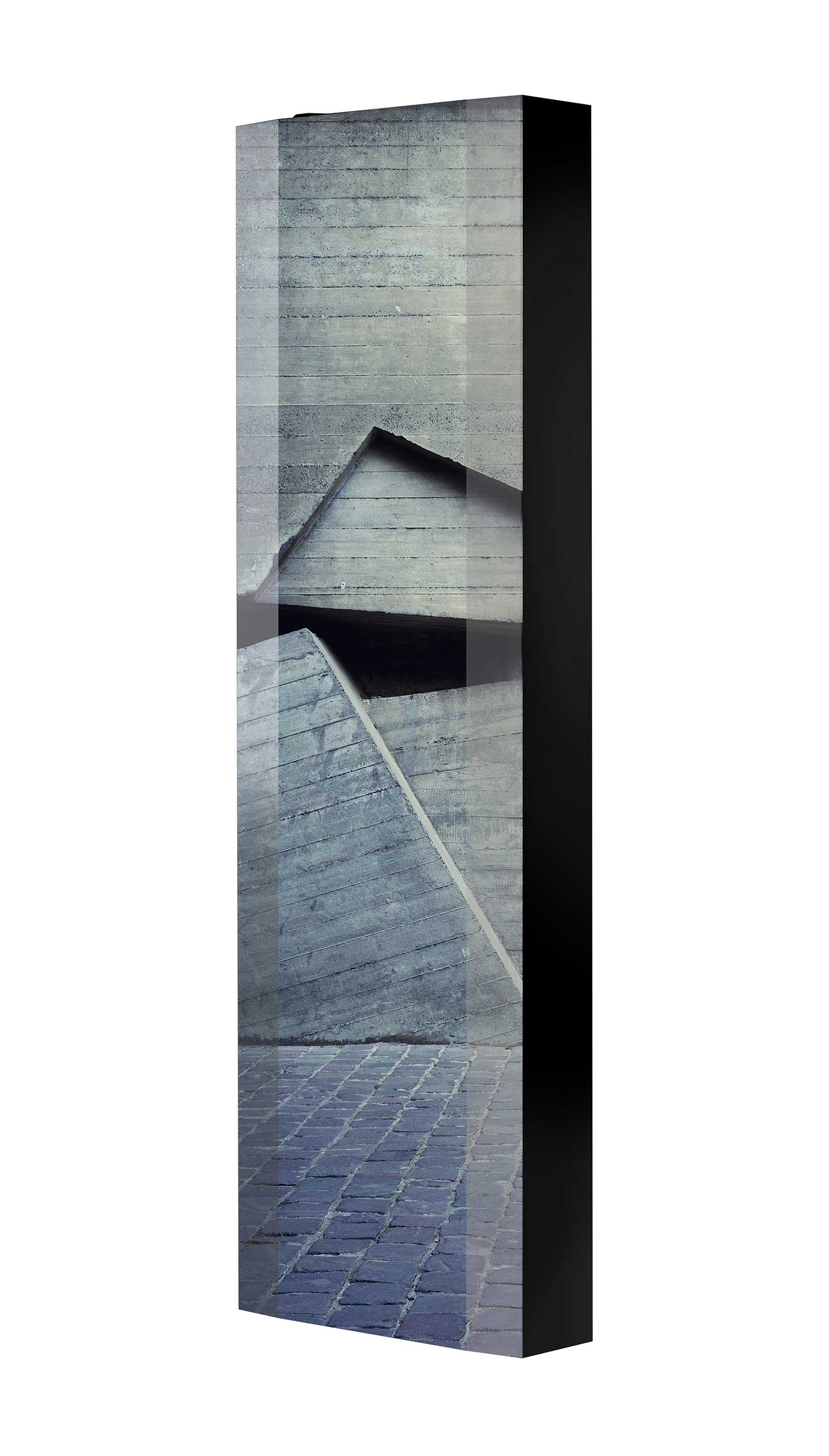 Schuhschrank FLASH 450 BLACK-EDITION Motivschrank schwarz drehbar M15 Architektur