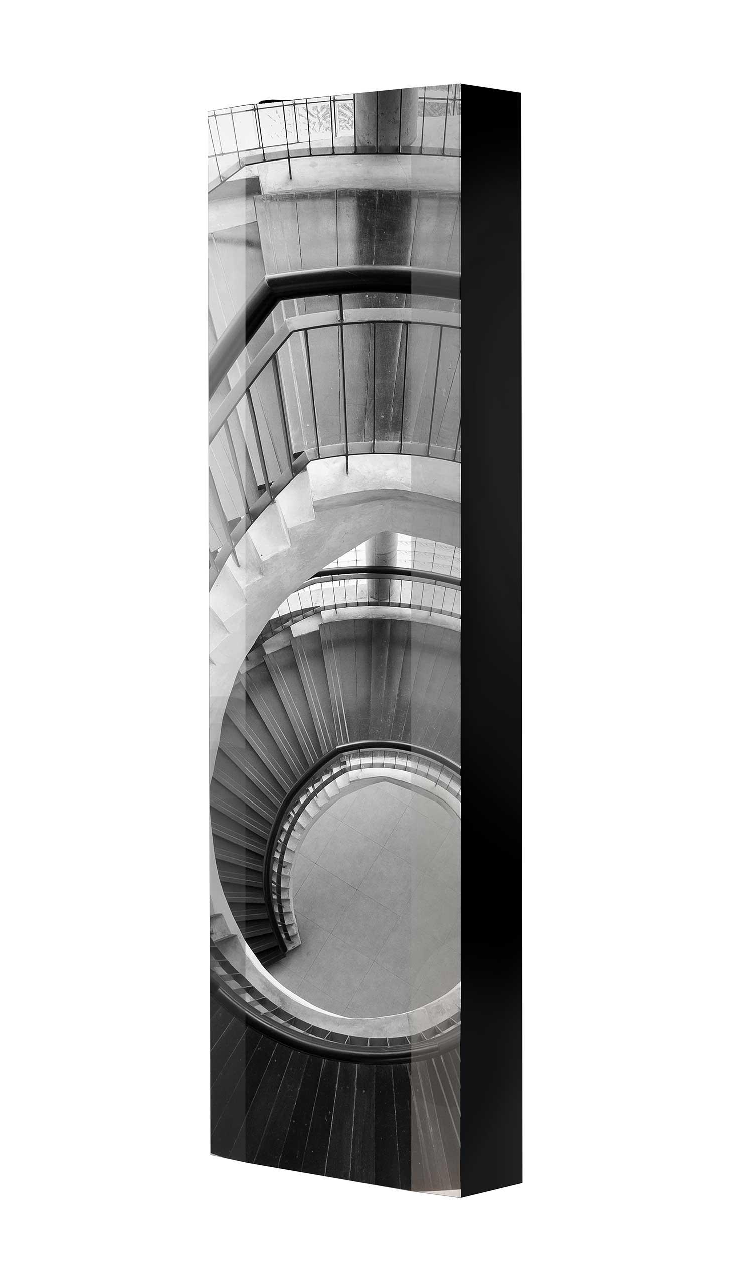 Schuhschrank FLASH 450 BLACK-EDITION Motivschrank schwarz drehbar M29 Treppe Schwarz-Weiß