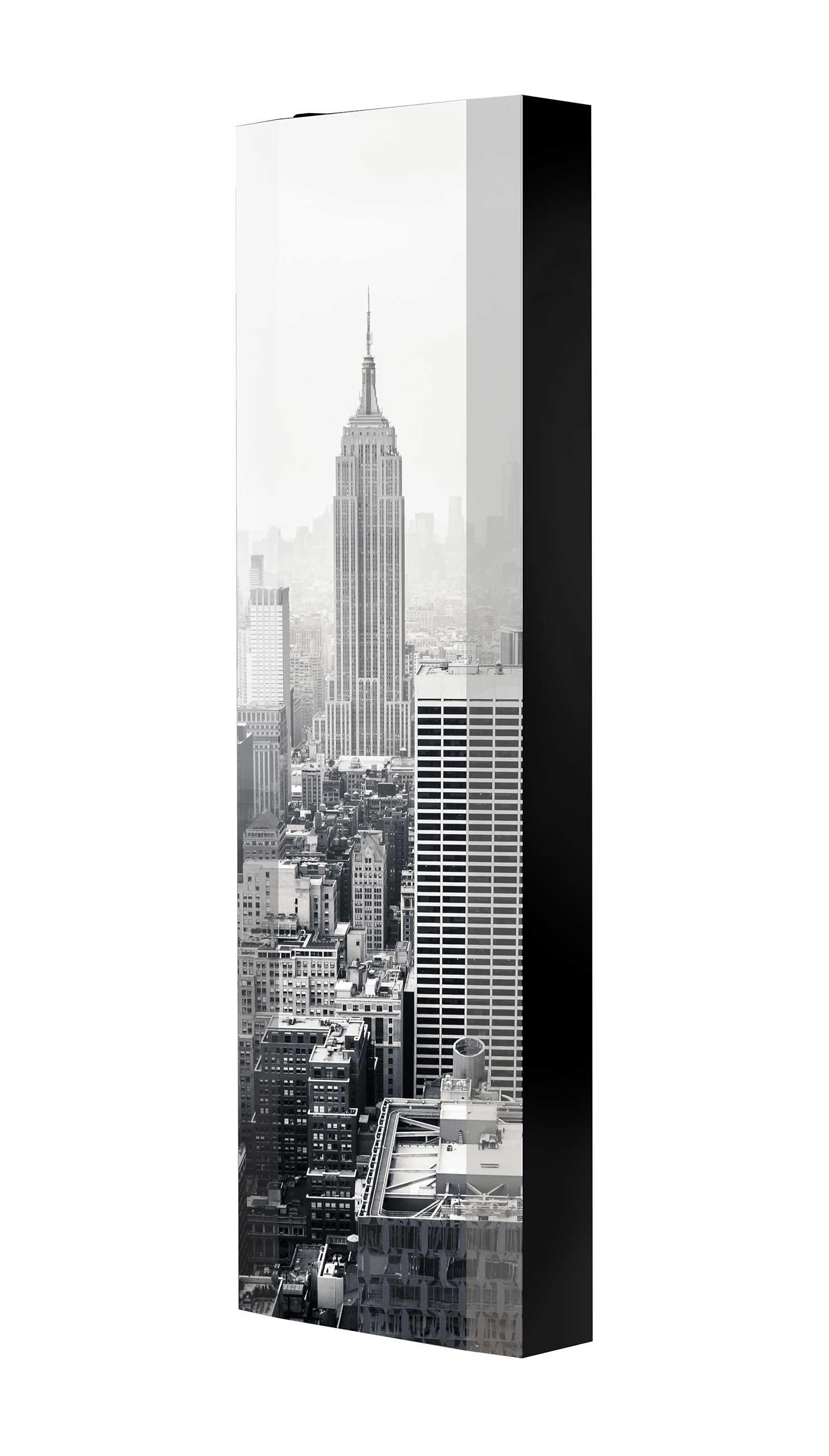 Schuhschrank FLASH 450 BLACK-EDITION Motivschrank schwarz drehbar M31 New York Schwarz-Weiß