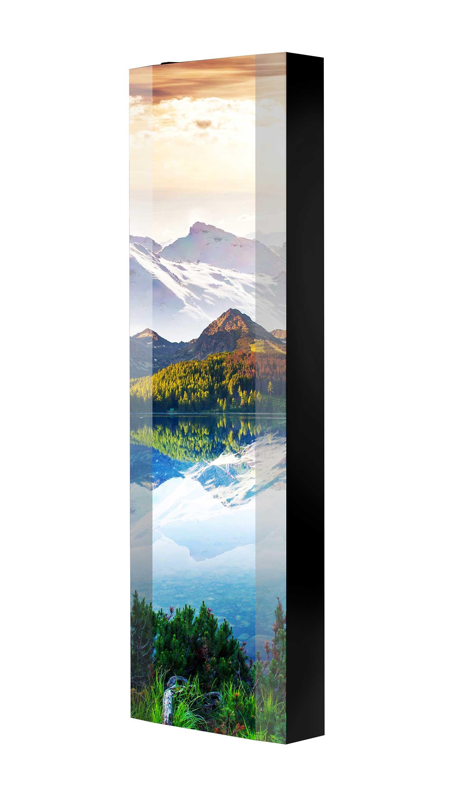 Schuhschrank FLASH 450 BLACK-EDITION Motivschrank schwarz drehbar M32 See Berge