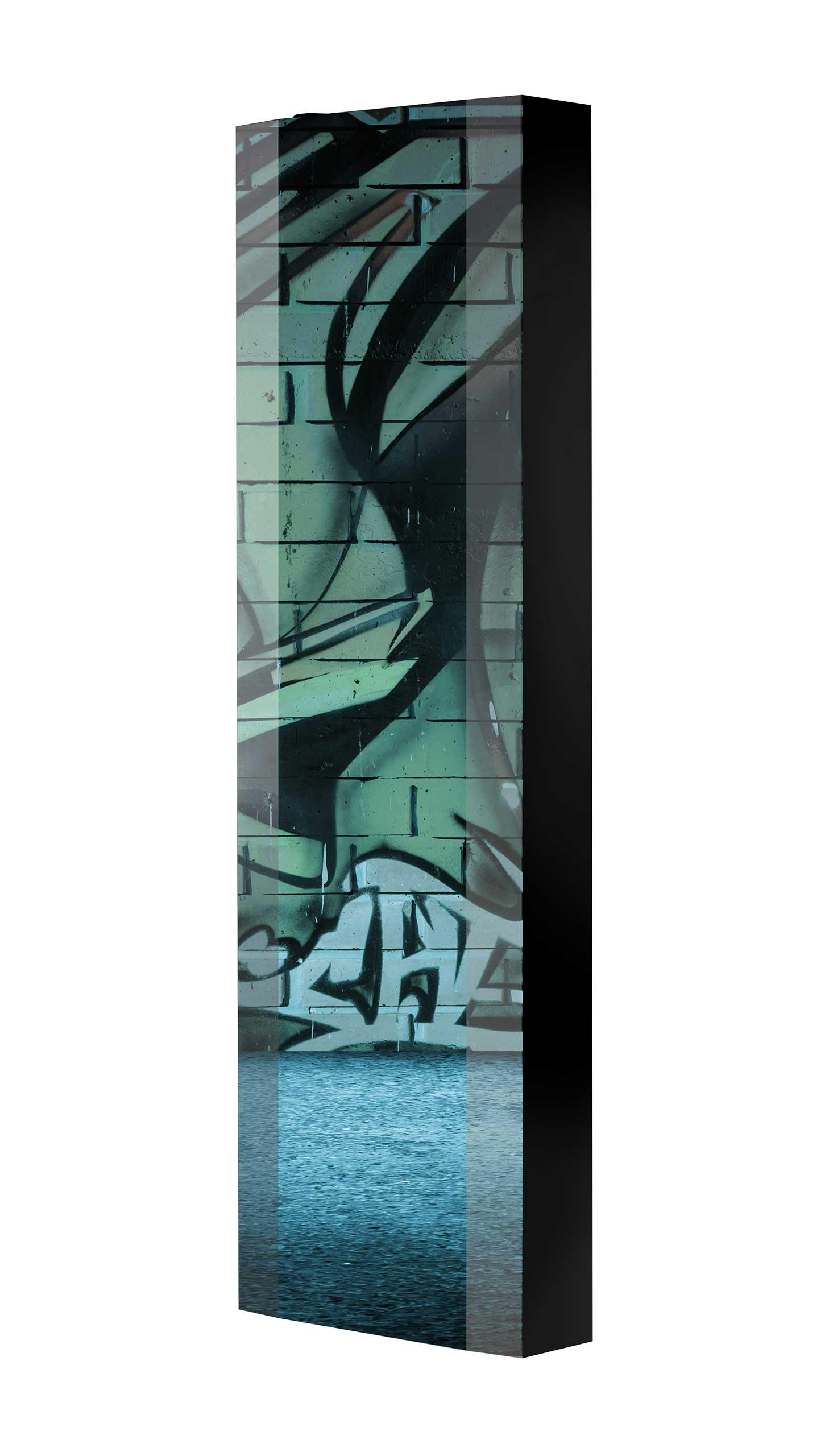 Schuhschrank FLASH 450 BLACK-EDITION Motivschrank schwarz drehbar M37 Graffiti