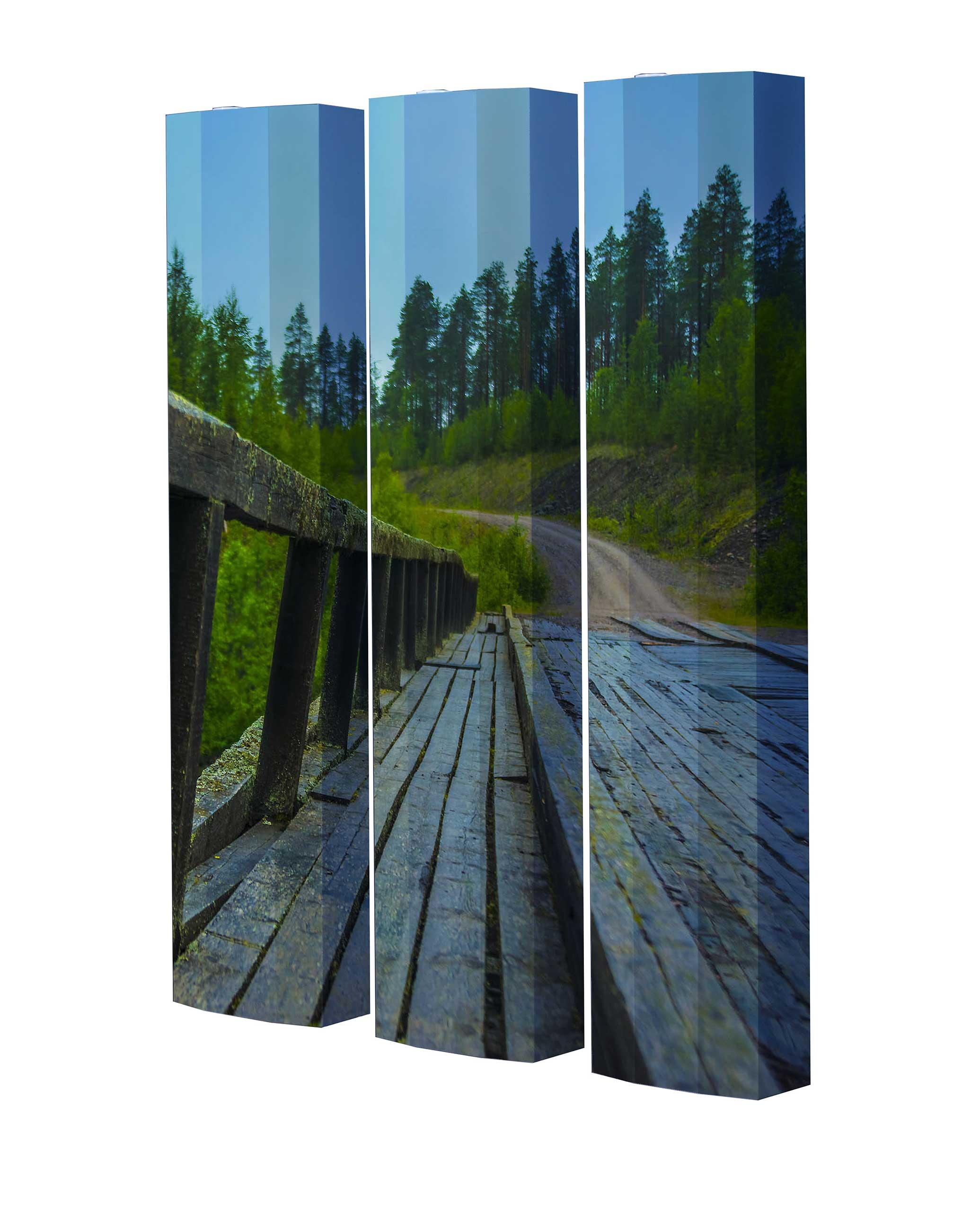 Schuhschrank STORM Motivschrank Trio ST141 Brücke weiß 3er Set